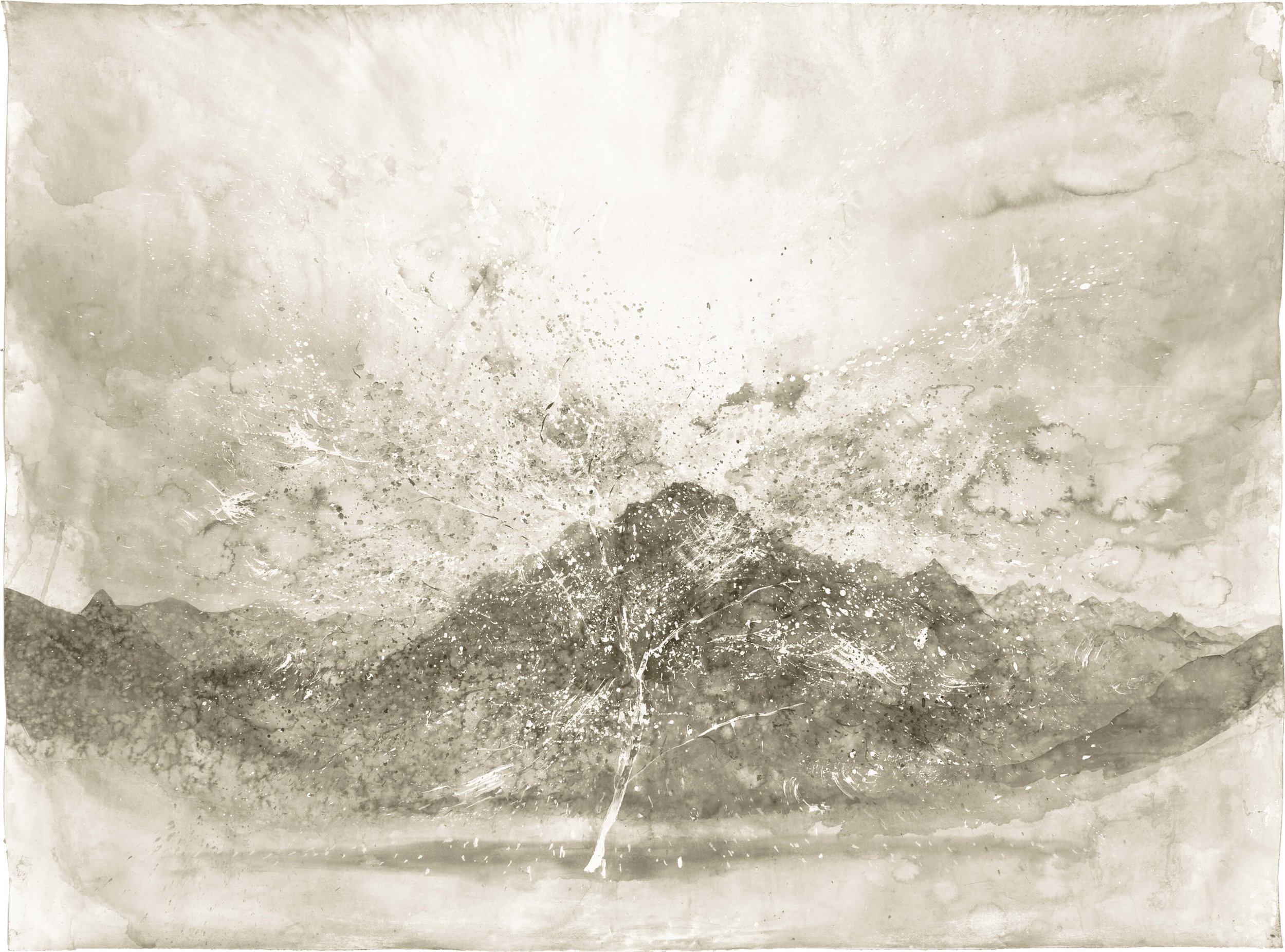 RHSK070 Cherry Blossom in front of Ogura San ( Ink on Paper ) 137 x 184 cm