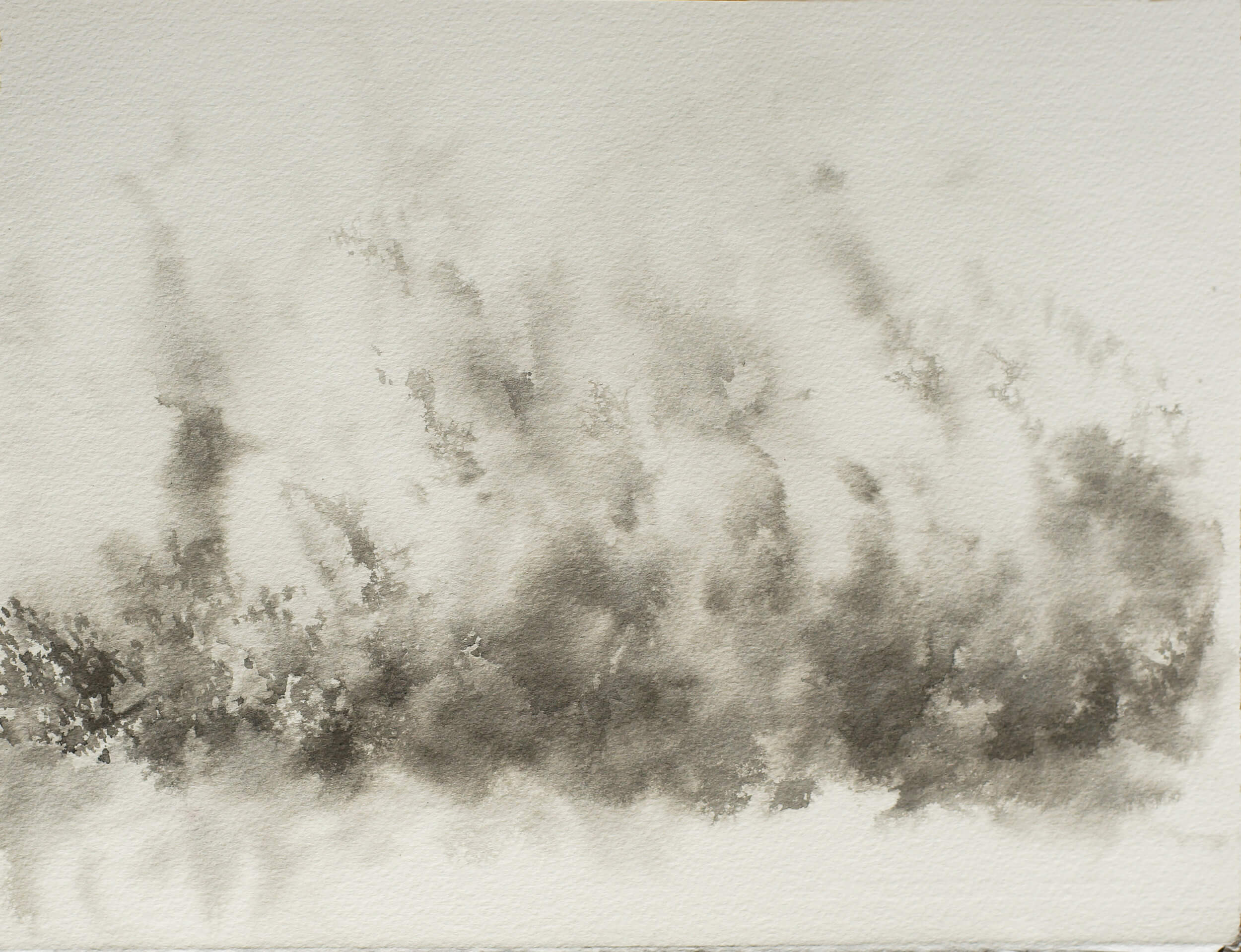 RHSK117 Hillside Forest Rain Light and Rising Mist ( Ink on Paper ) 28..5 x 37 cm
