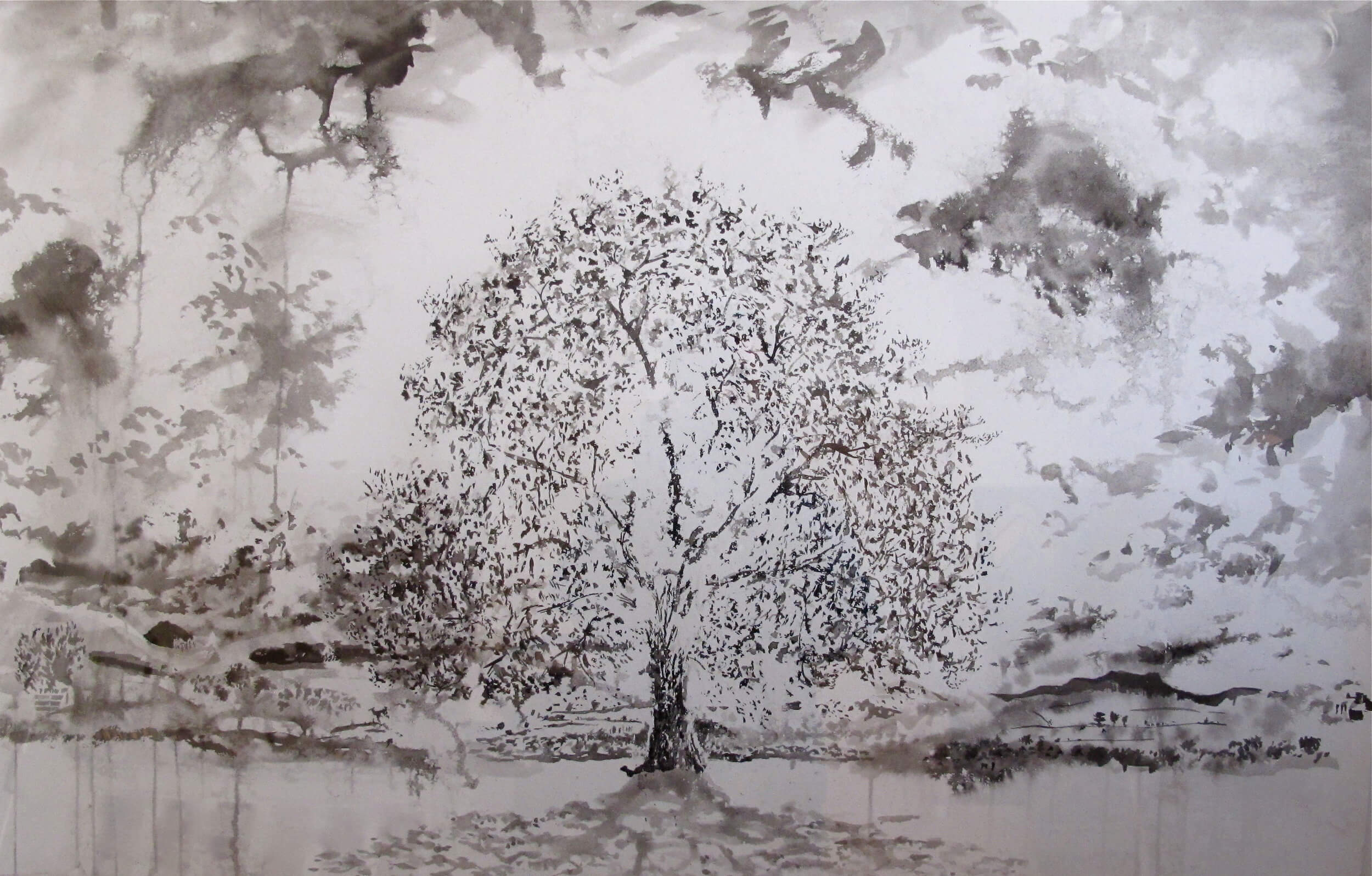 Oak Tree with Sunlight Lowther Park ( Ink on Paper ) 66 x 101 cm