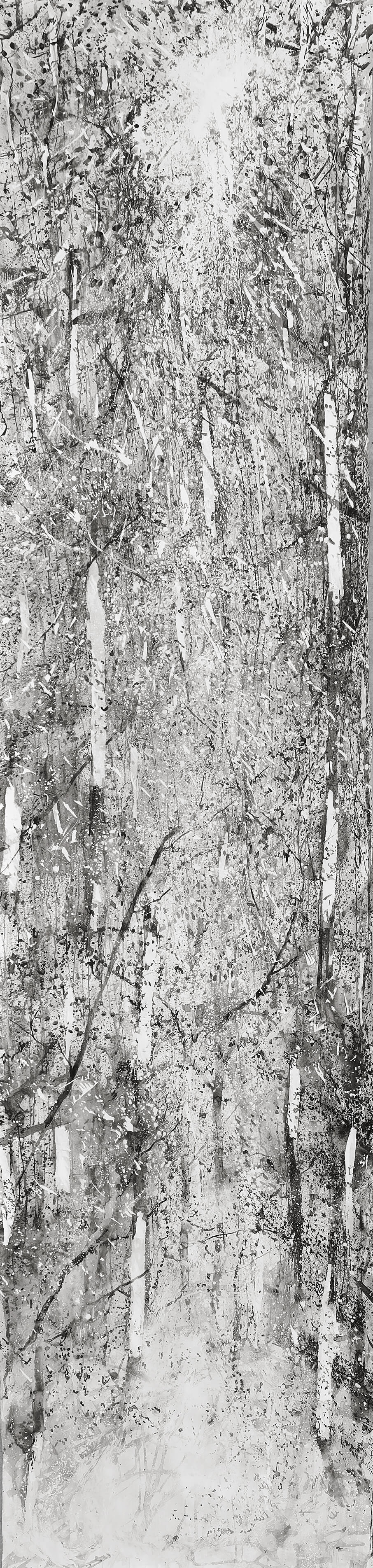 RHSK124 Descending Light in Tengudake Forest ( Ink on Paper ) 560 x 136 cm