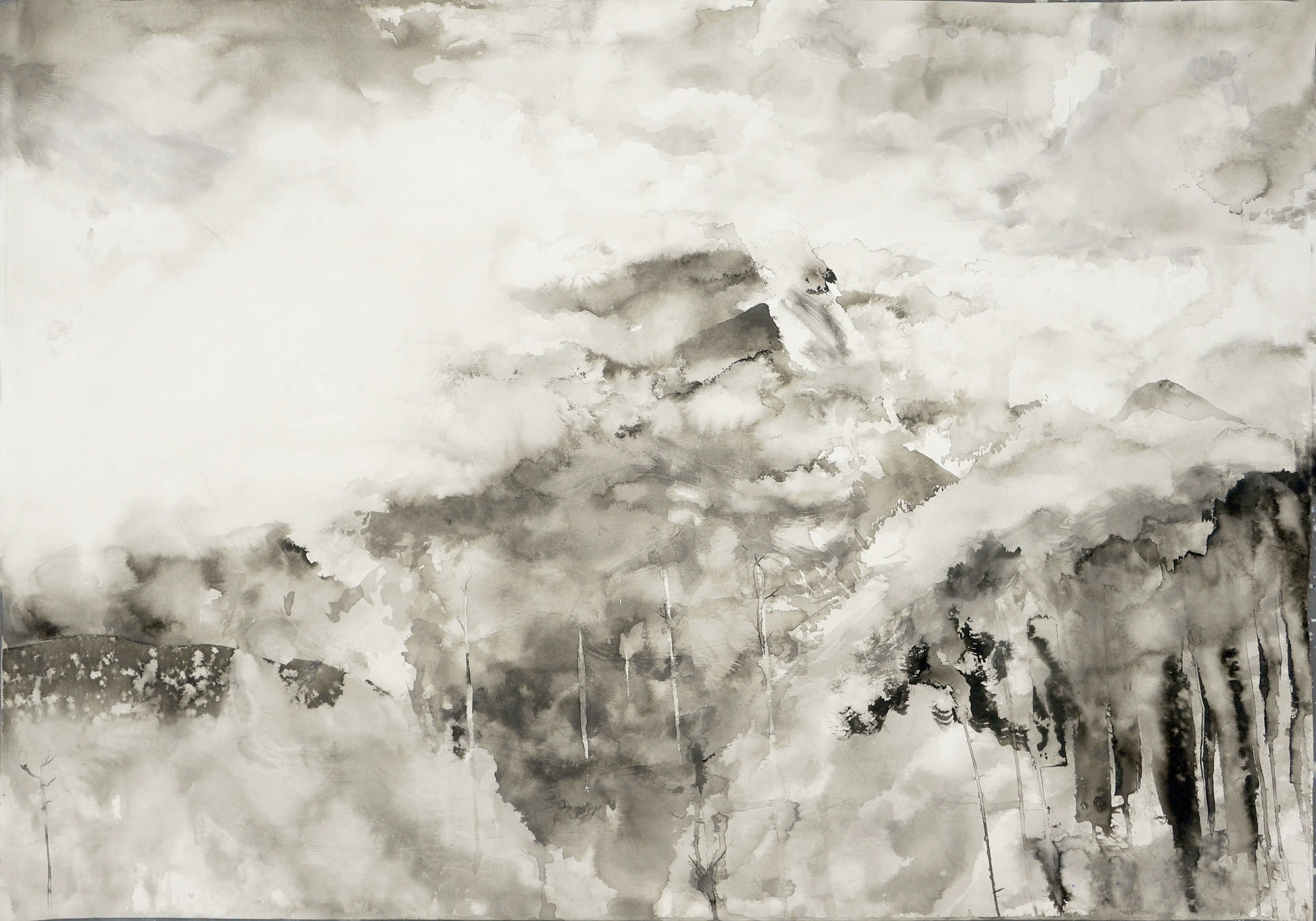 RHSK107 Tengudake and Winter Mist ( Ink on Paper ) 76 x 108 cm