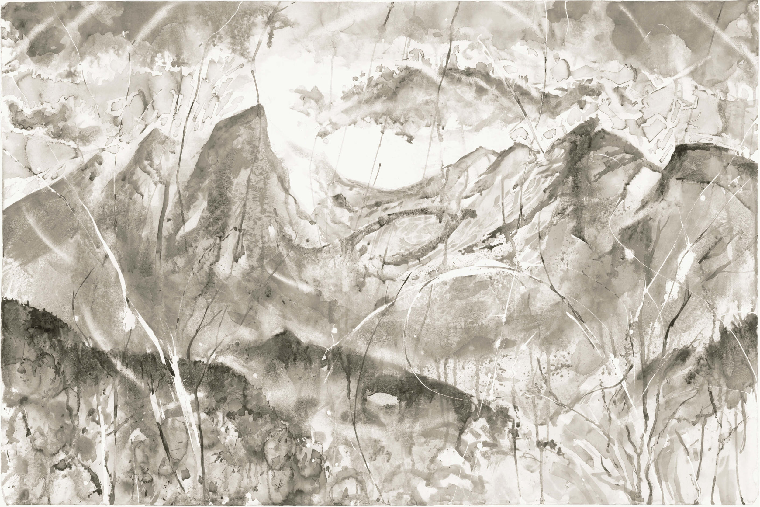 RHSK071 Tengudake and Mild Winter Sun ( Ink on Paper ) 92 x 138 cm