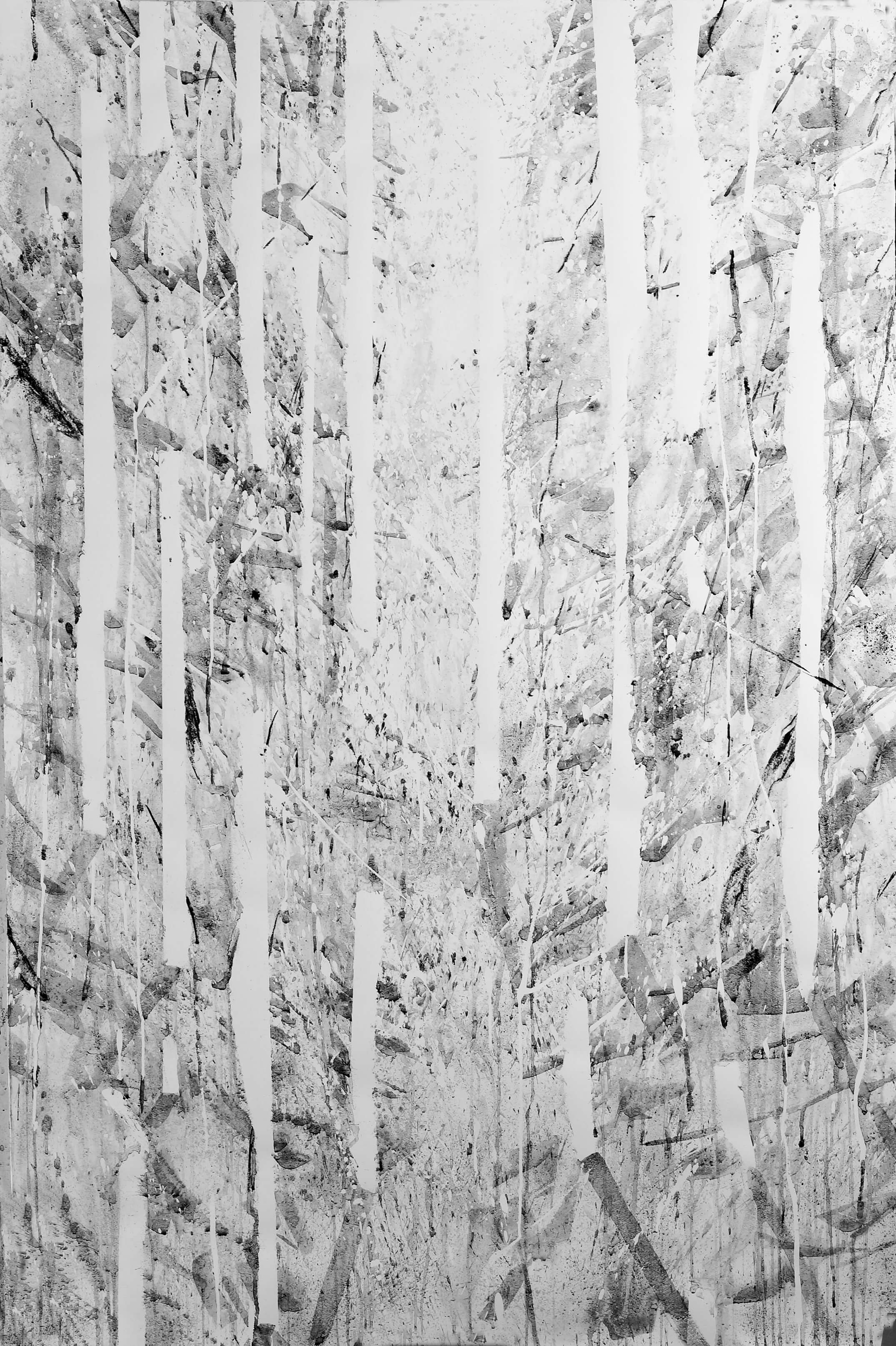 RHSK106 Cascade of Light in Forest ( hand made Charcoal and Ink on Paper ) 137 x 90 cm
