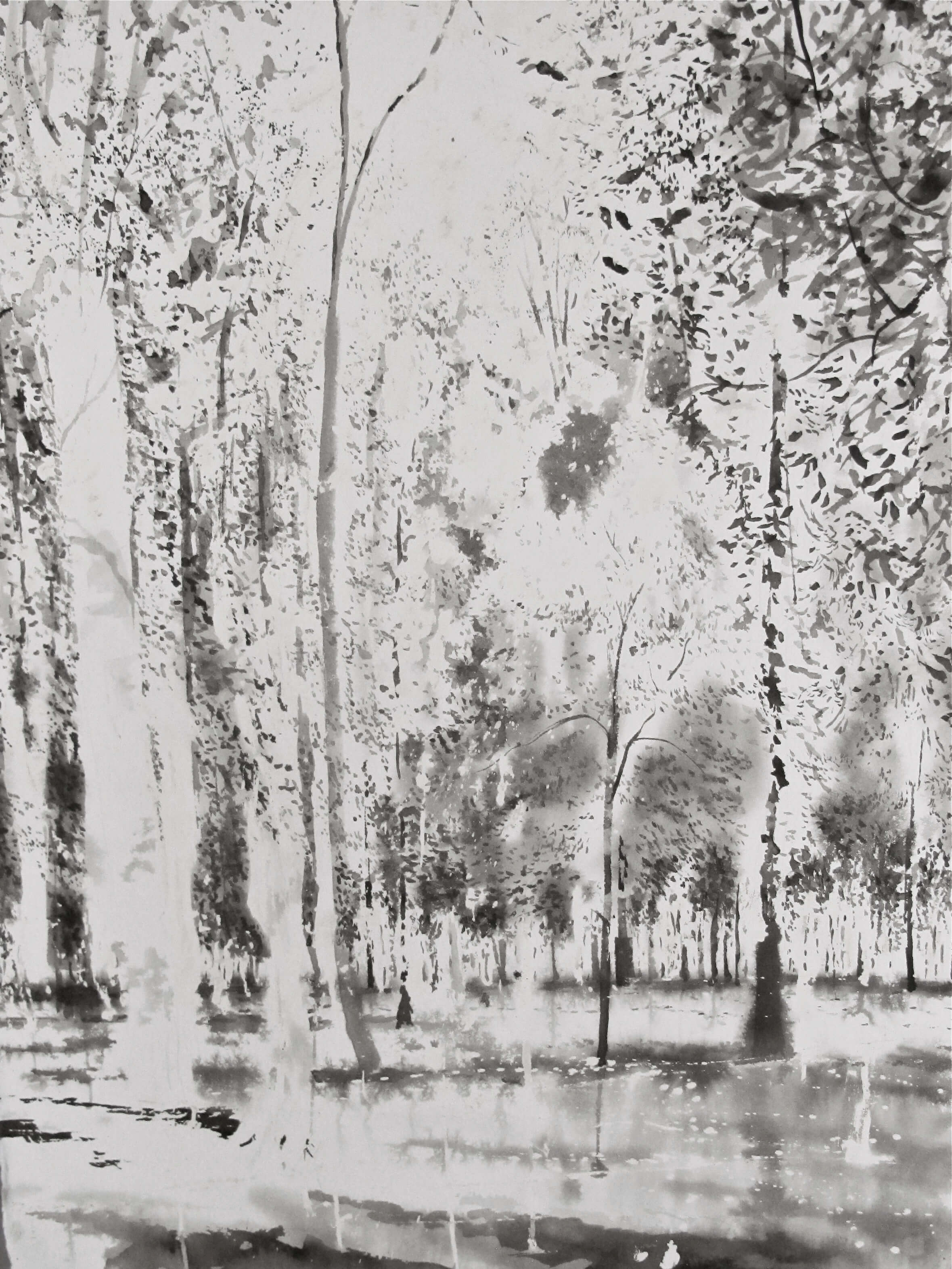 The Forest of Haroué in Evening Light ( Ink on Paper ) 65 x 85 cm