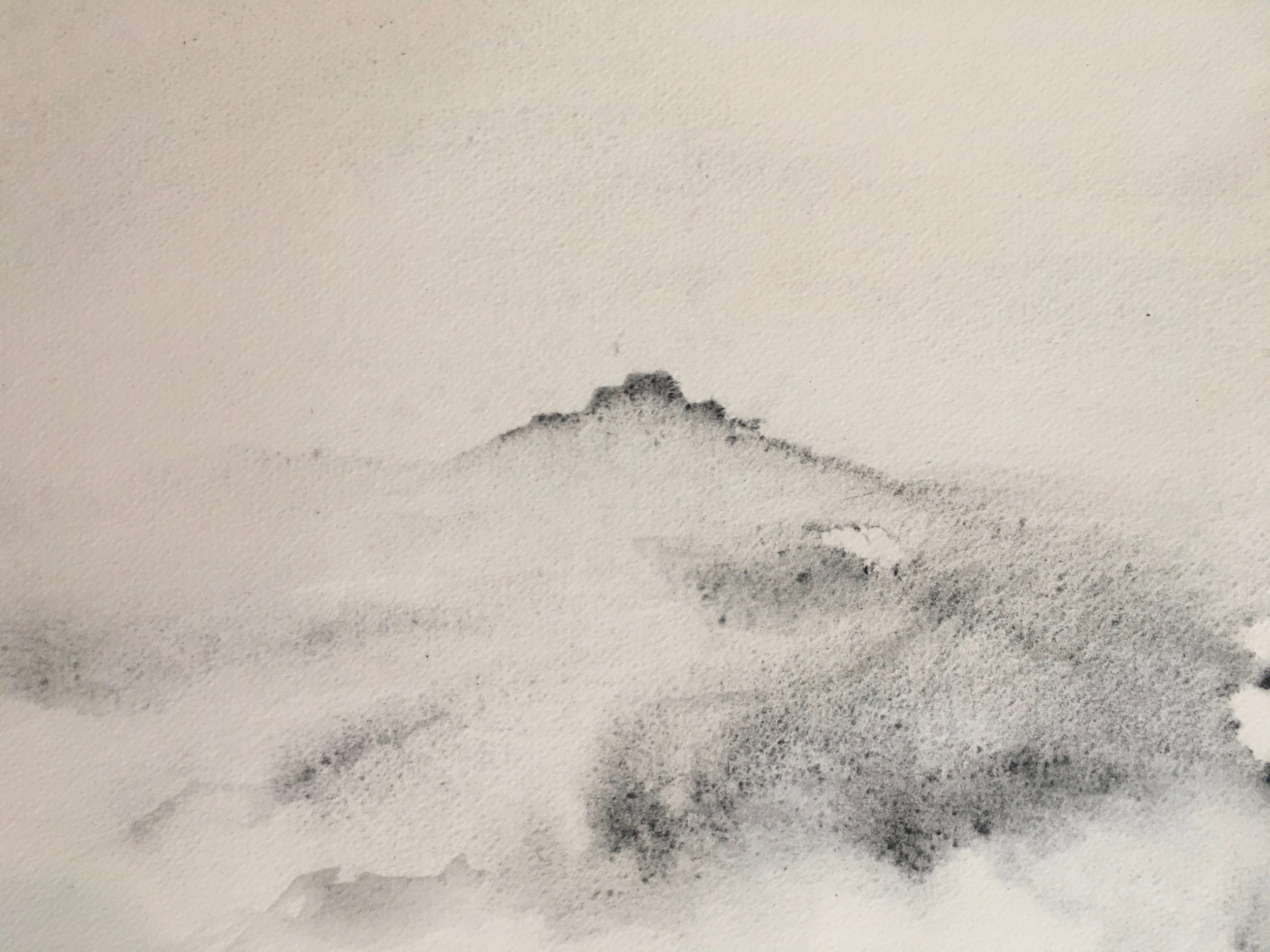 RHSK156 Ogura San Rain ( Local Charcoal on Paper ) 28 x 36.8 cm