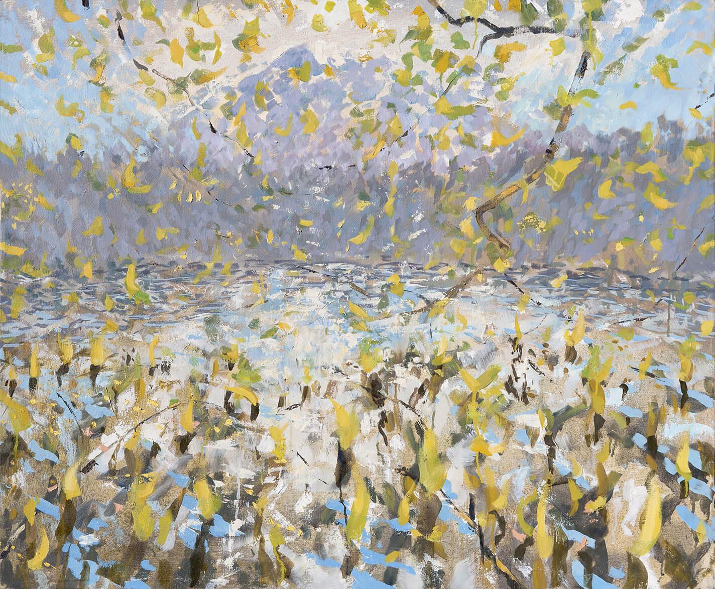 RHSK006 Through Autumn Leaves Matsubarako Lake and Tengudake ( Oil on Linen ) 85.5 x 110.5 cm