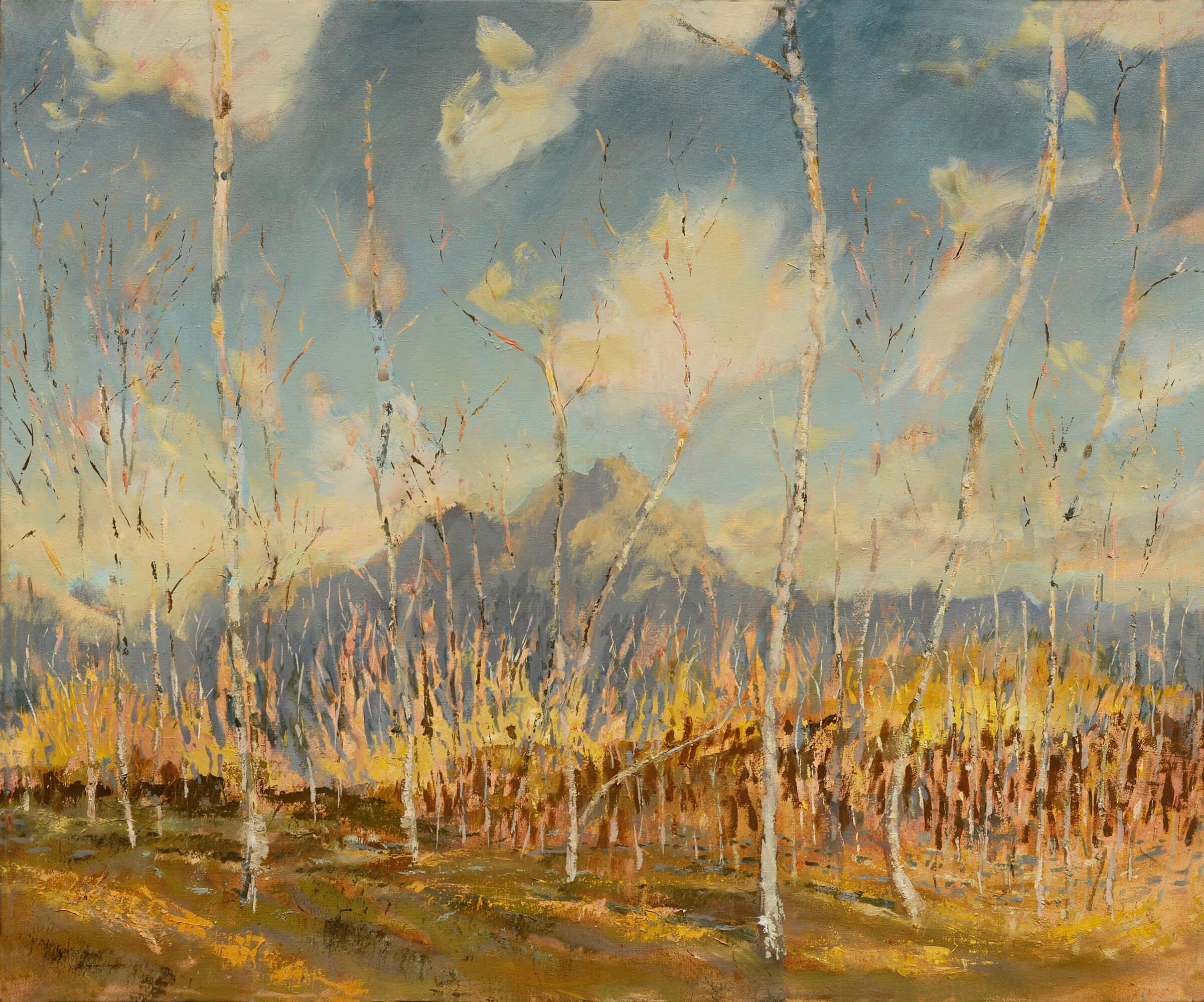 RHSK091 Ogura San beyond Birch forest Autumn Evening ( Oil on Linen ) 92 x 110 cm