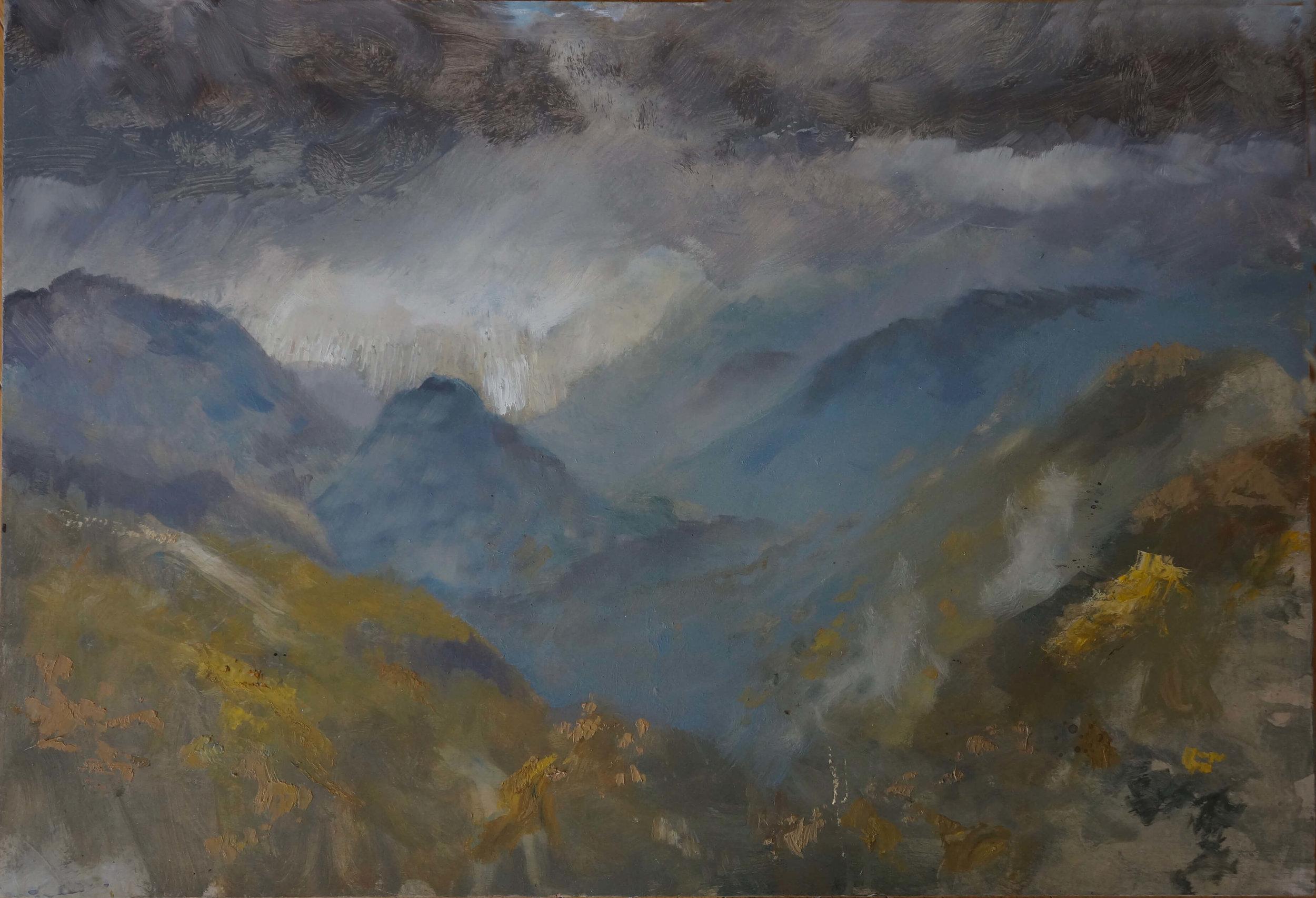 RHSK018 Snow Gleam on Tengudake ( Oil on Panel ) 45.5 x 66 cm