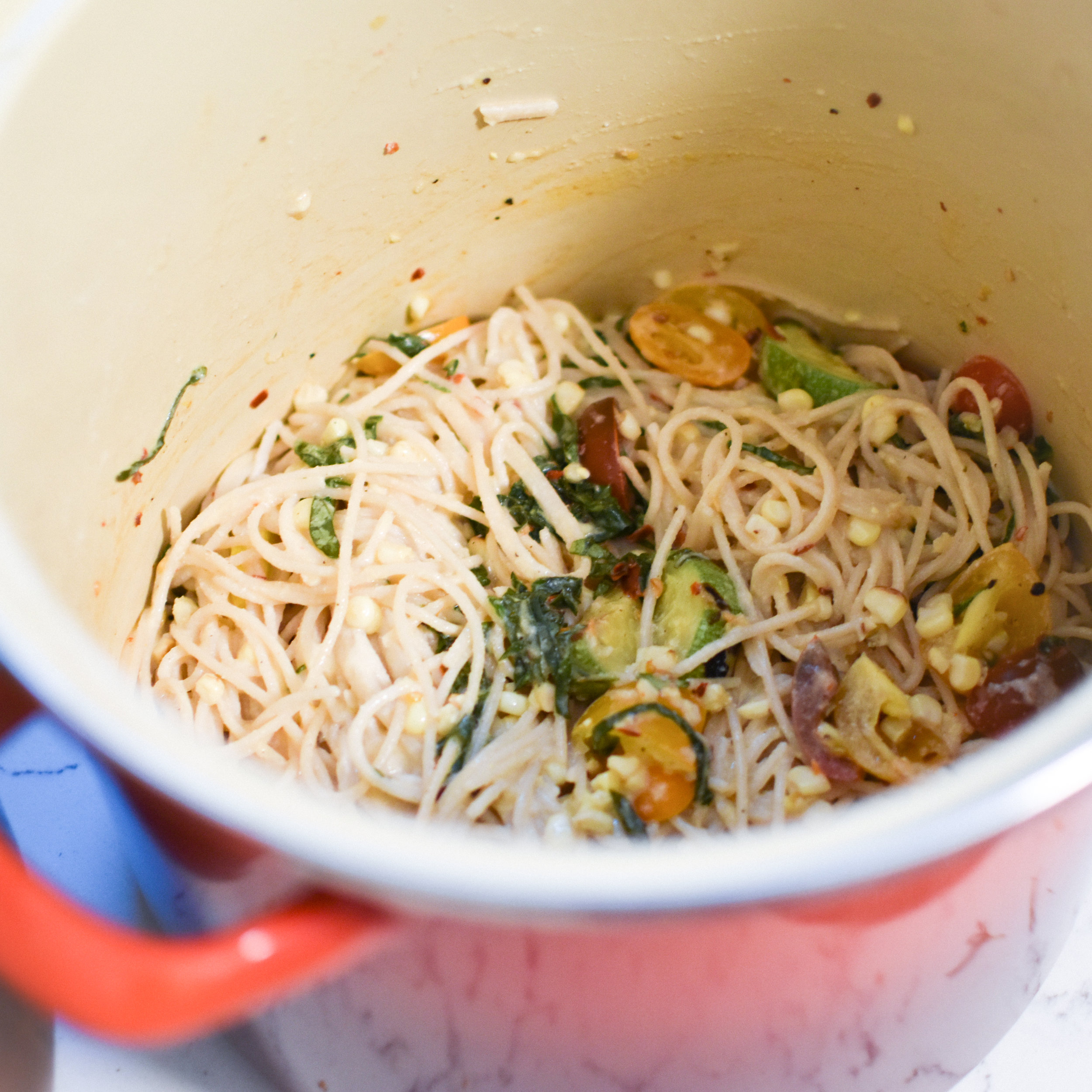 roasted corn pasta with creamy cashew-miso sauce and tomato relish