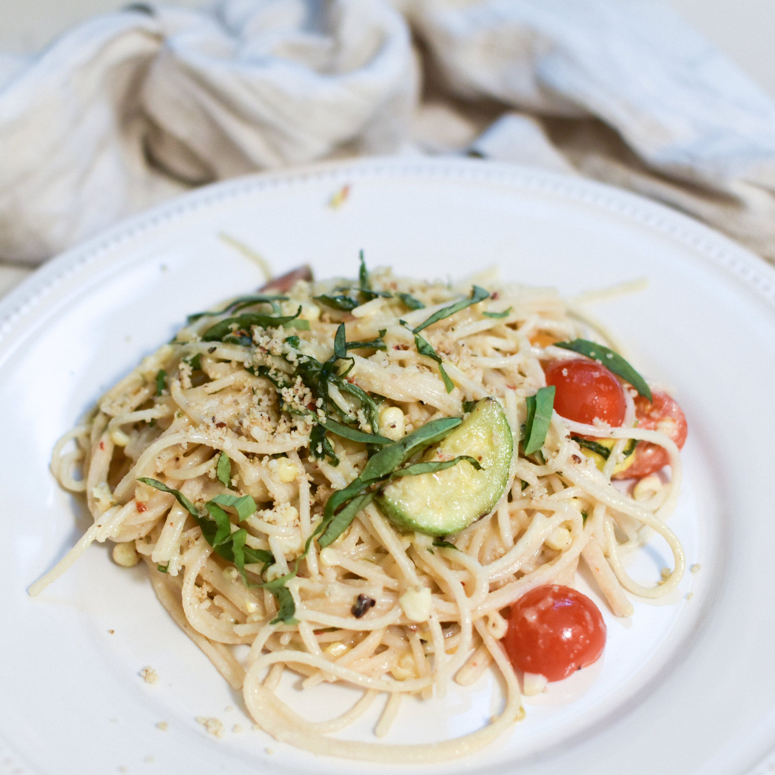 summer garden pasta with creamy cashew-miso sauce and tomoato relish