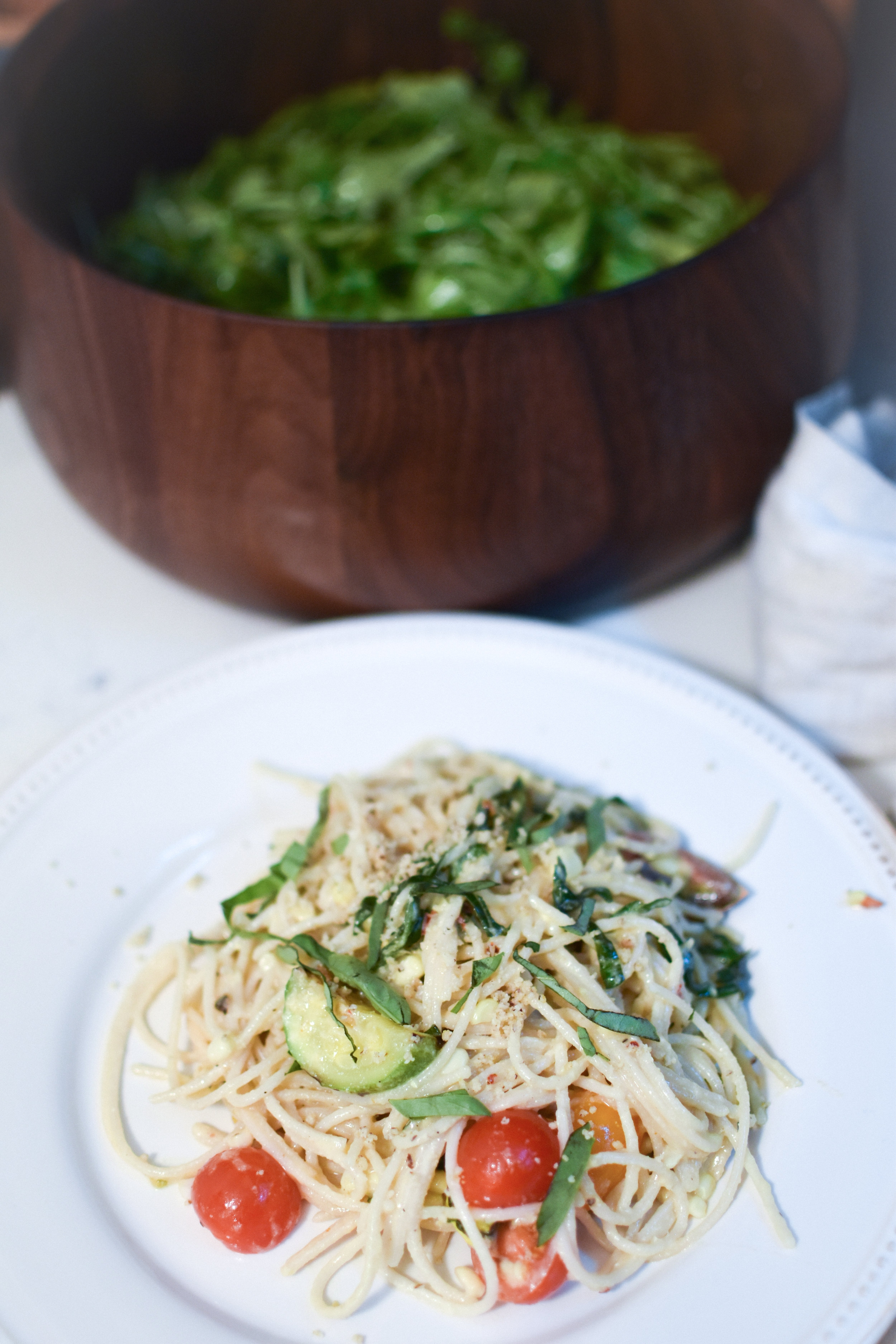 Summer Garden Pasta with Roasted Corn and Cashew Miso Cream Sauce