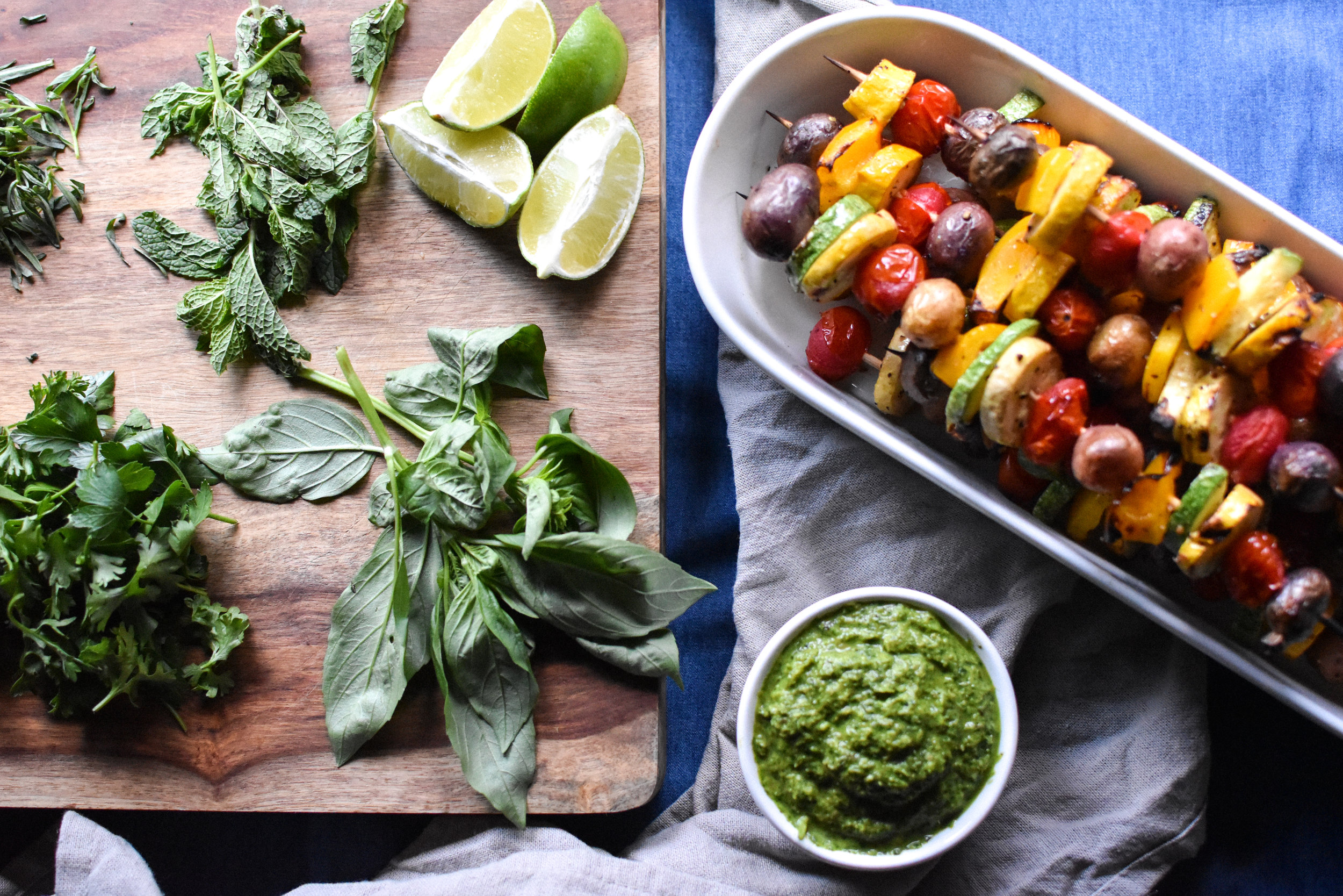 grilled summer veggies with herbs & chutney - Make Mary