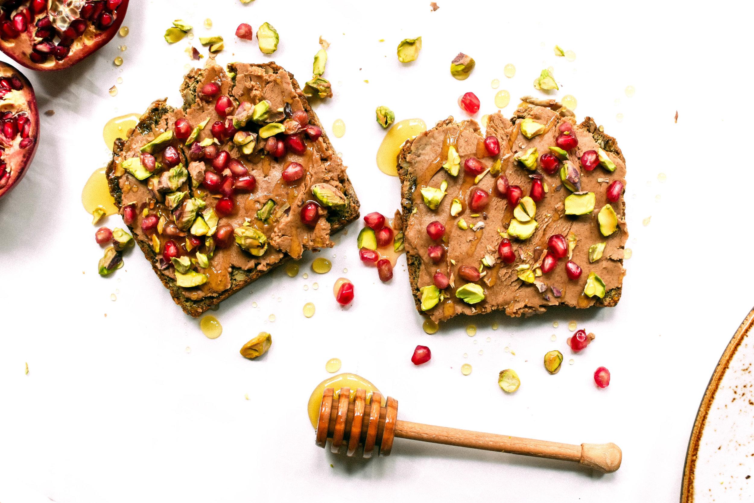 Pomegranate and Pistachio Breakfast Toast