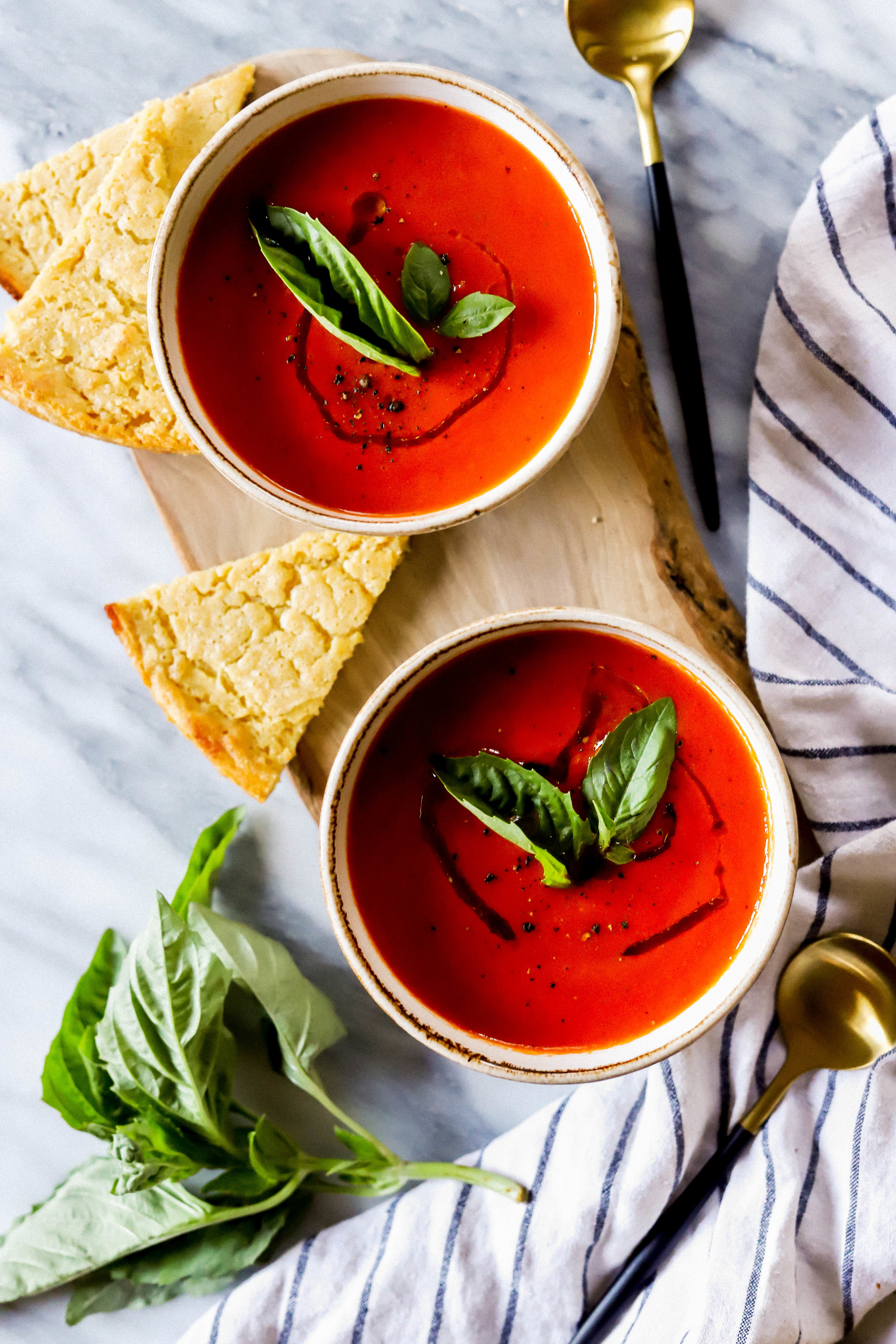 Easy homemade tomato soup with a side of socca bread