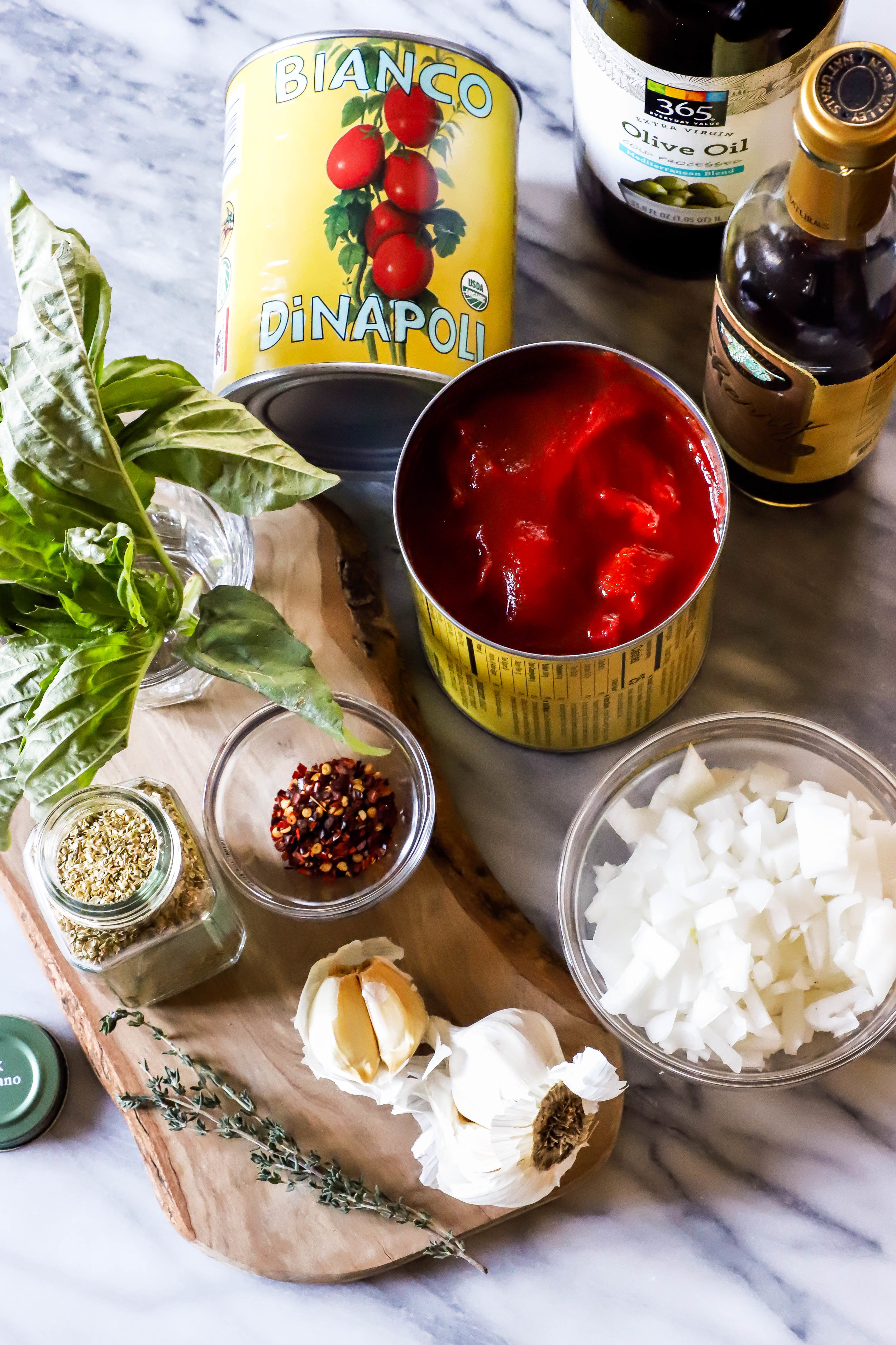 Ingredients for vegan and gluten-free easy homemade tomato soup