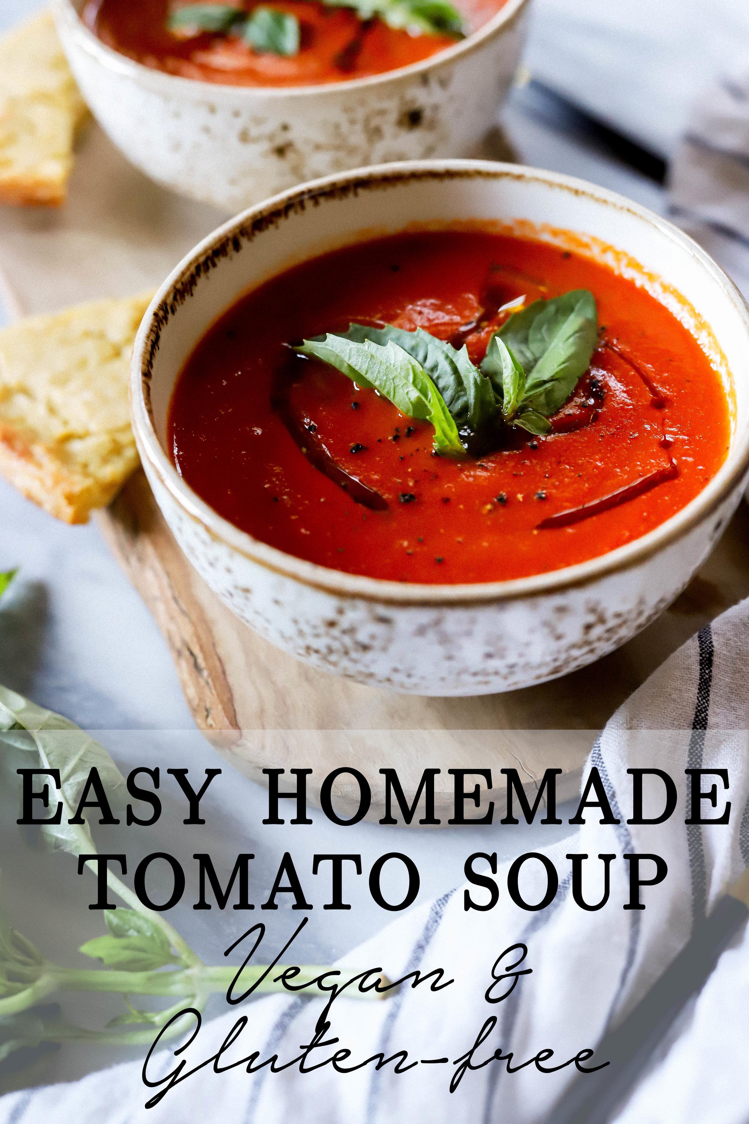 Easy vegan and gluten-free homemade tomato soup