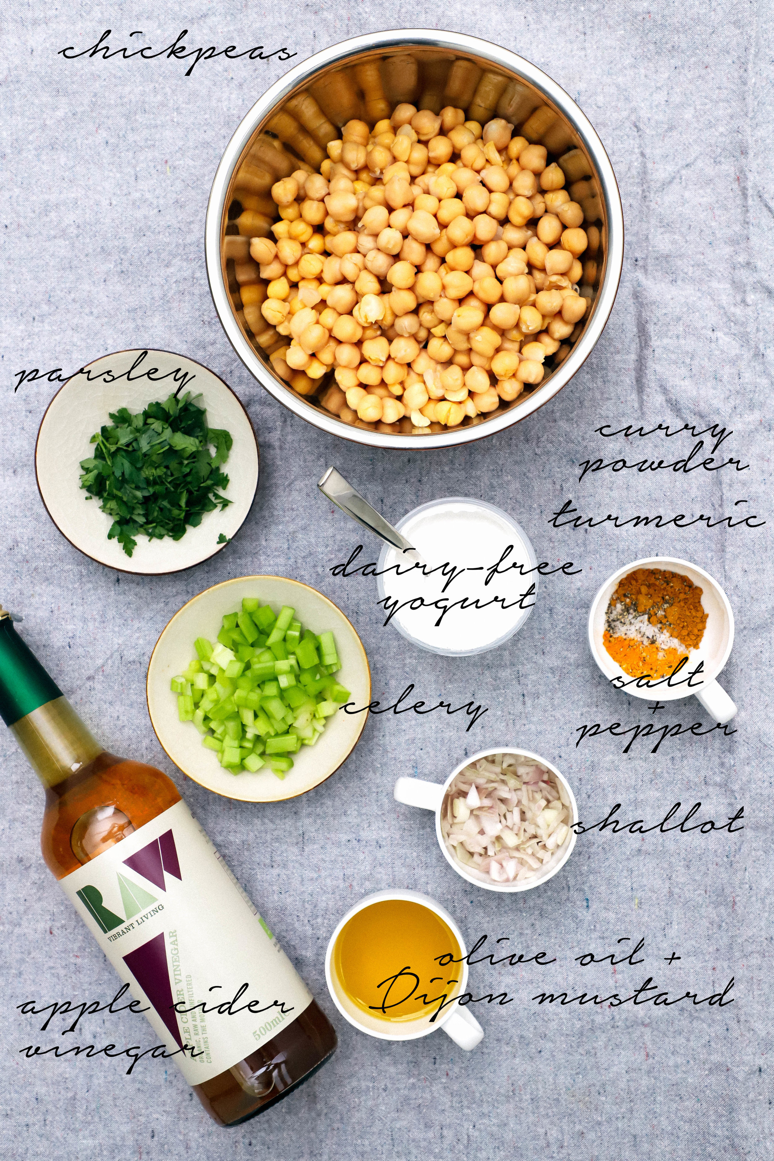 ingredients for curried chickpea salad