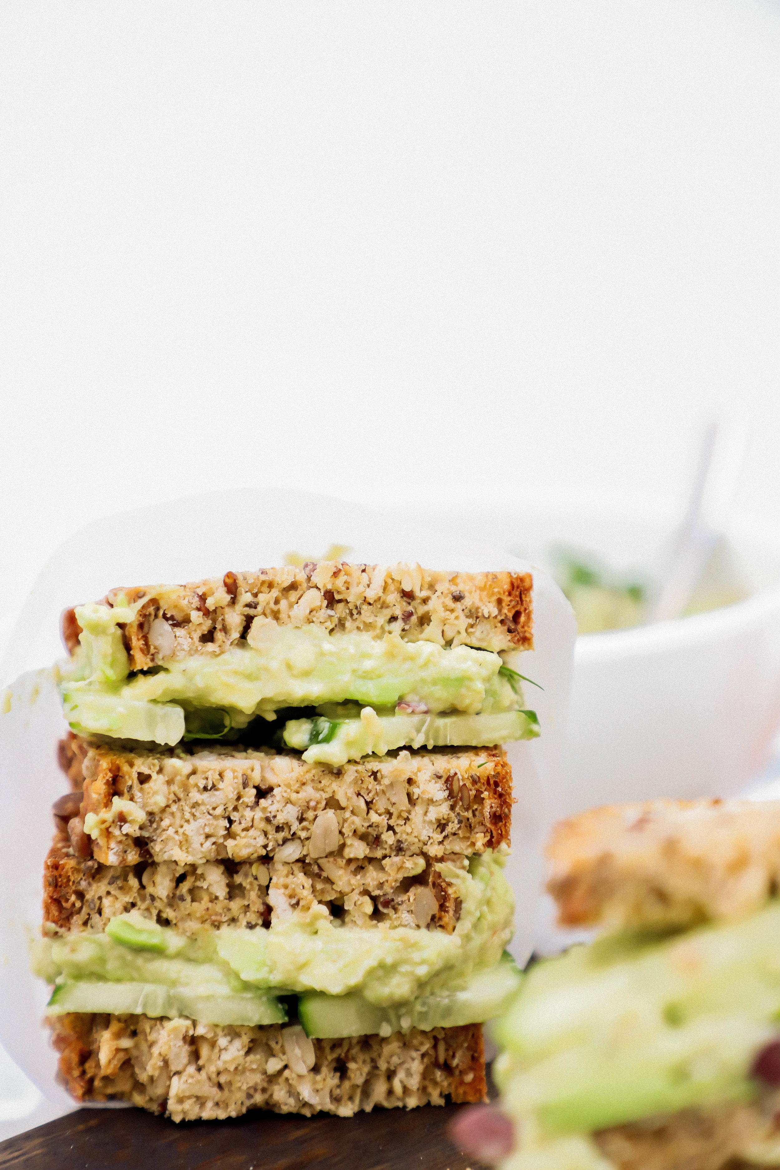 Vegan and gluten-free avocado smash sandwiches