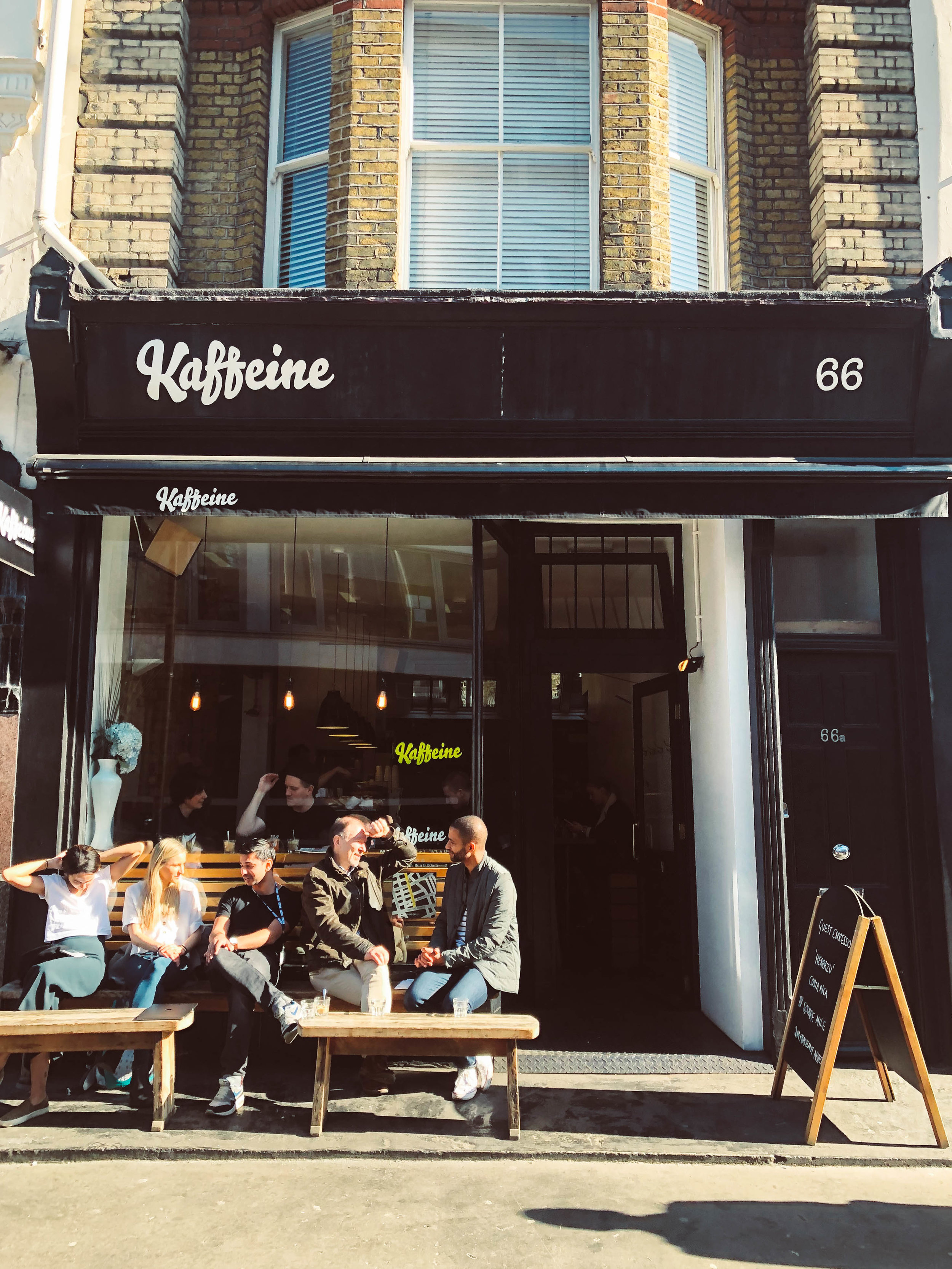 Kaffeine coffee shop in London; picture of store front