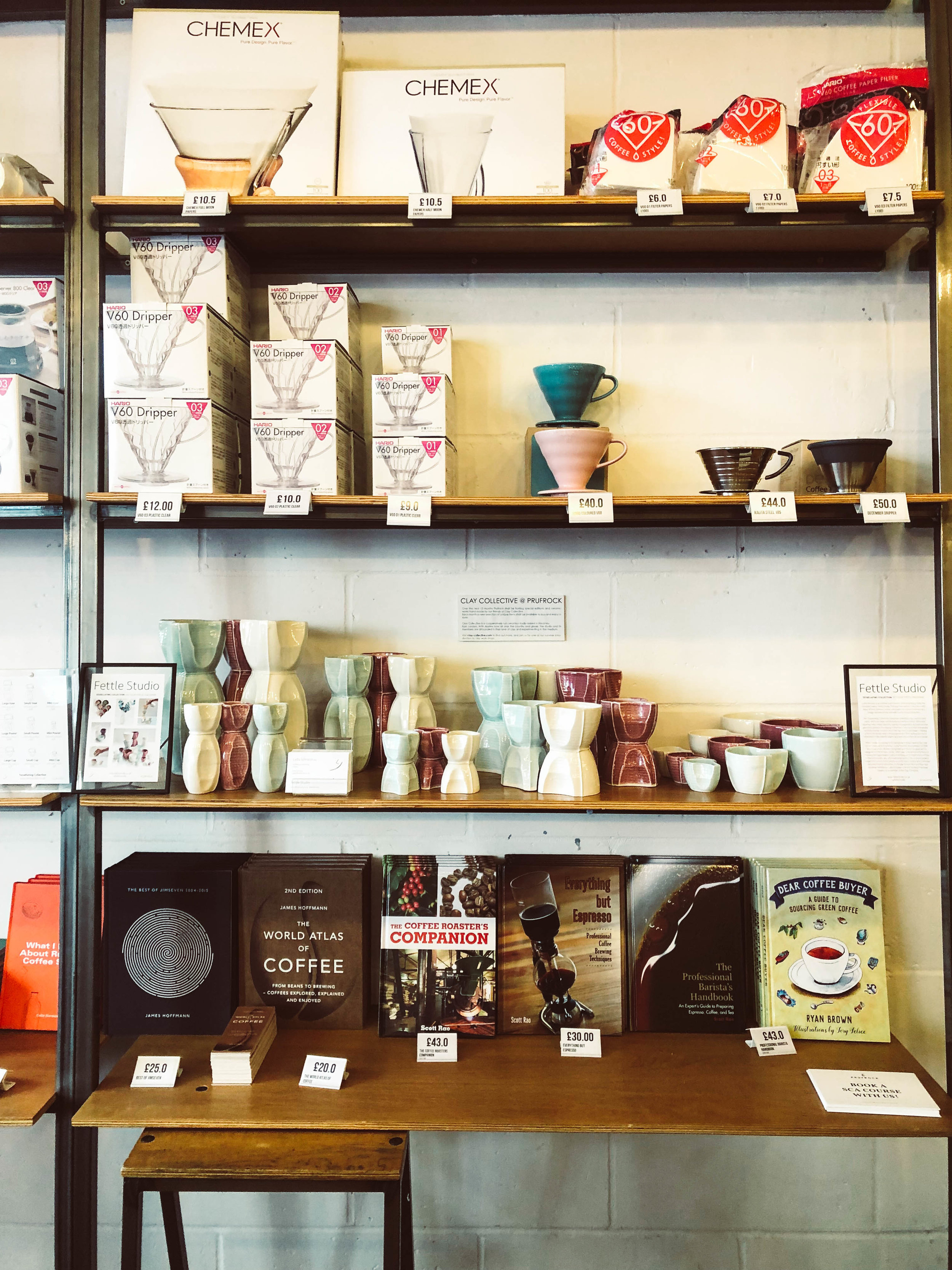 Coffee gadgets at Prufrock Coffee in London