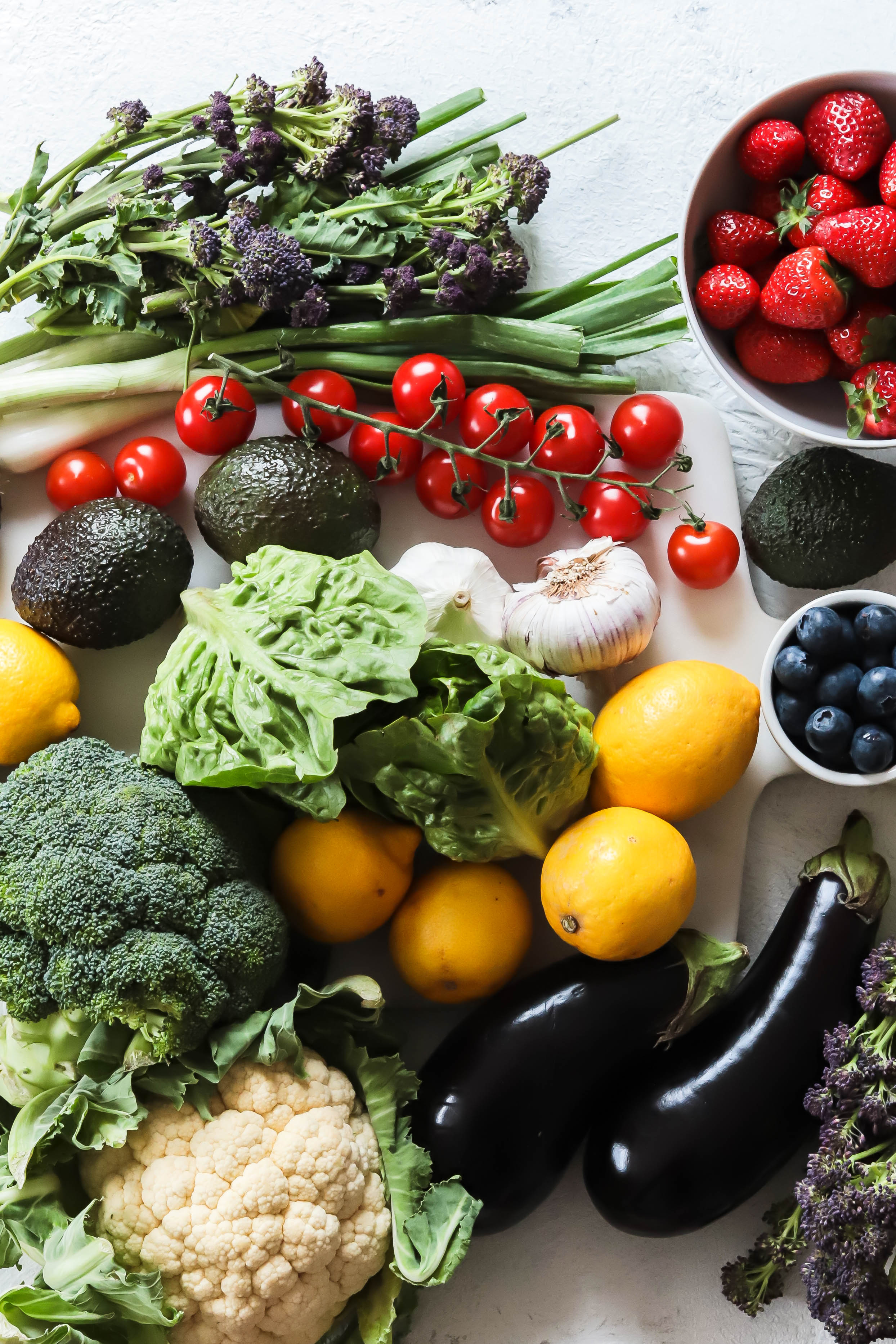 An array of vegetables and fruits