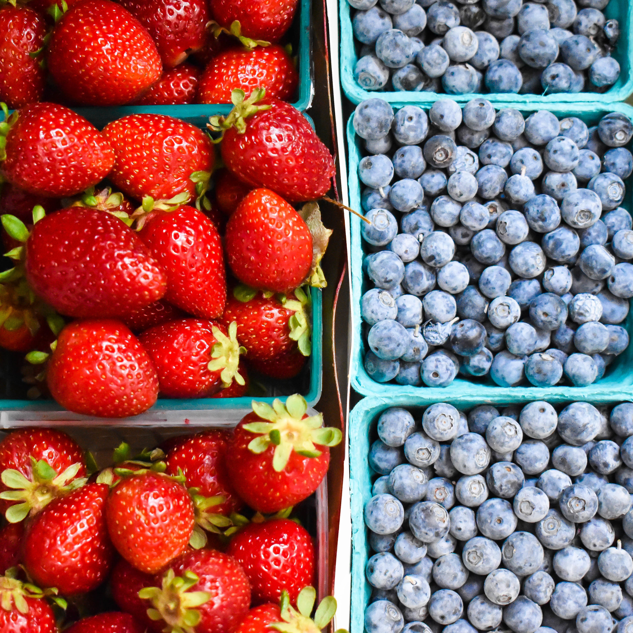 overhead photograph of strawberries and blueberries in square boxes