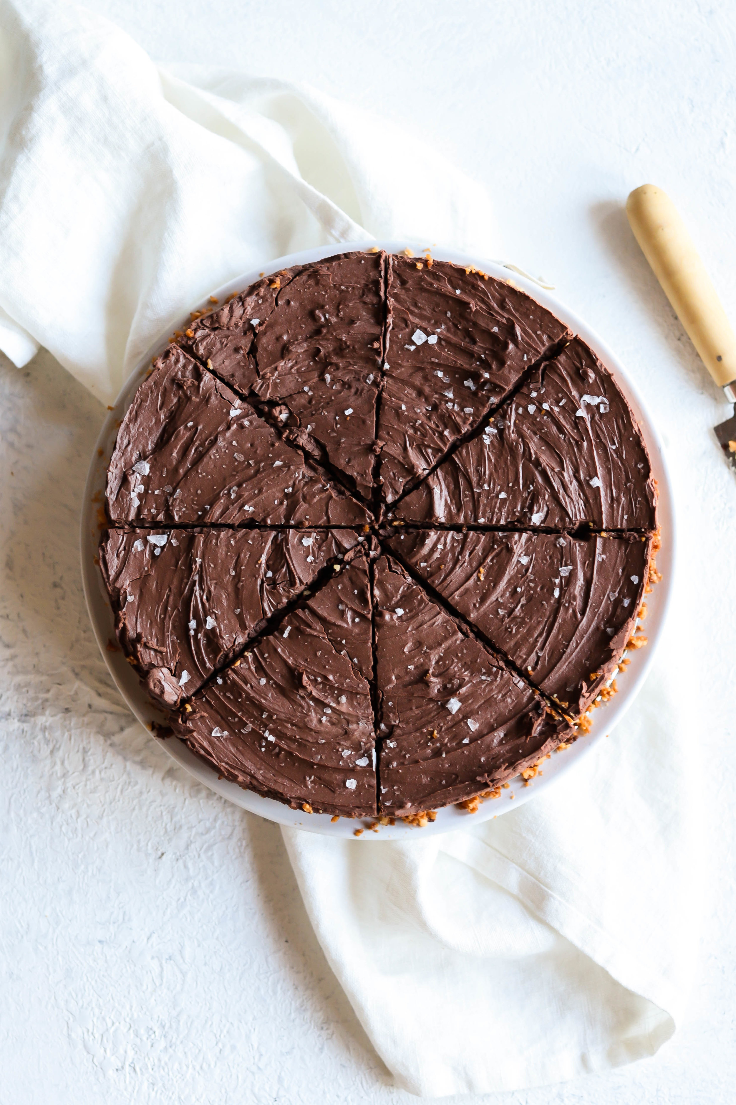 gluten-free and vegan chocolate pie sliced; overhead picture,