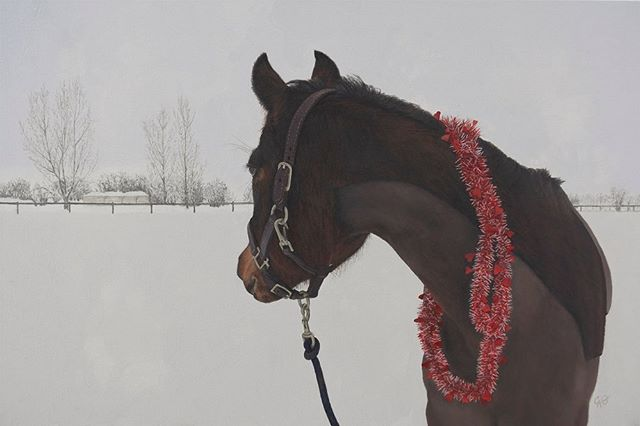 "A majestic atmosphere filled with beauty and grace is apparent when in the presence of a horse. This painting captures a mare who is loved, surrounded by a quiet stillness of newly fallen snow. She turns in a contemplative gaze, to the stable, time to head back? ""Grace Kelly"" (My Valentine), oil on canvas. 16 x 24 inches. On view at Reine River's and my duet exhibition ""Feathers and Fur"" at MRG Fine Art THIS Saturday and Sunday (2 days only!) Swipe for details"