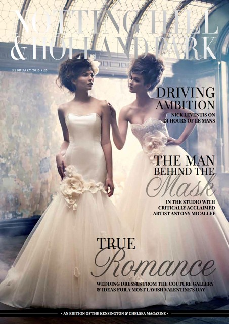 Notting Hill & Holland Park Feb 2015 - Front Cover featuring The Couture Gallery Gowns