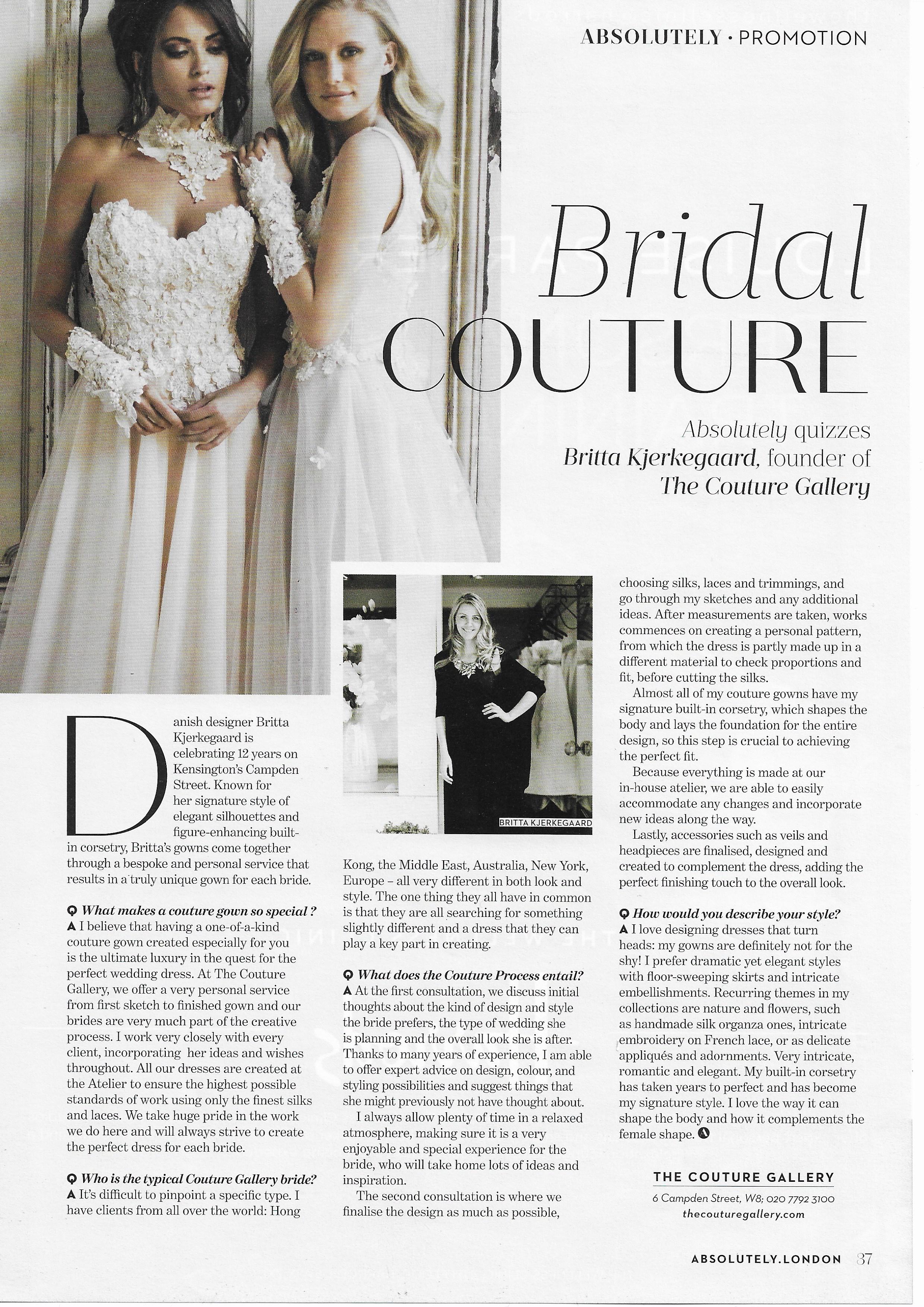 Absolutely Magazine Jan 2019 - Interview with Britta Kjerkegaard