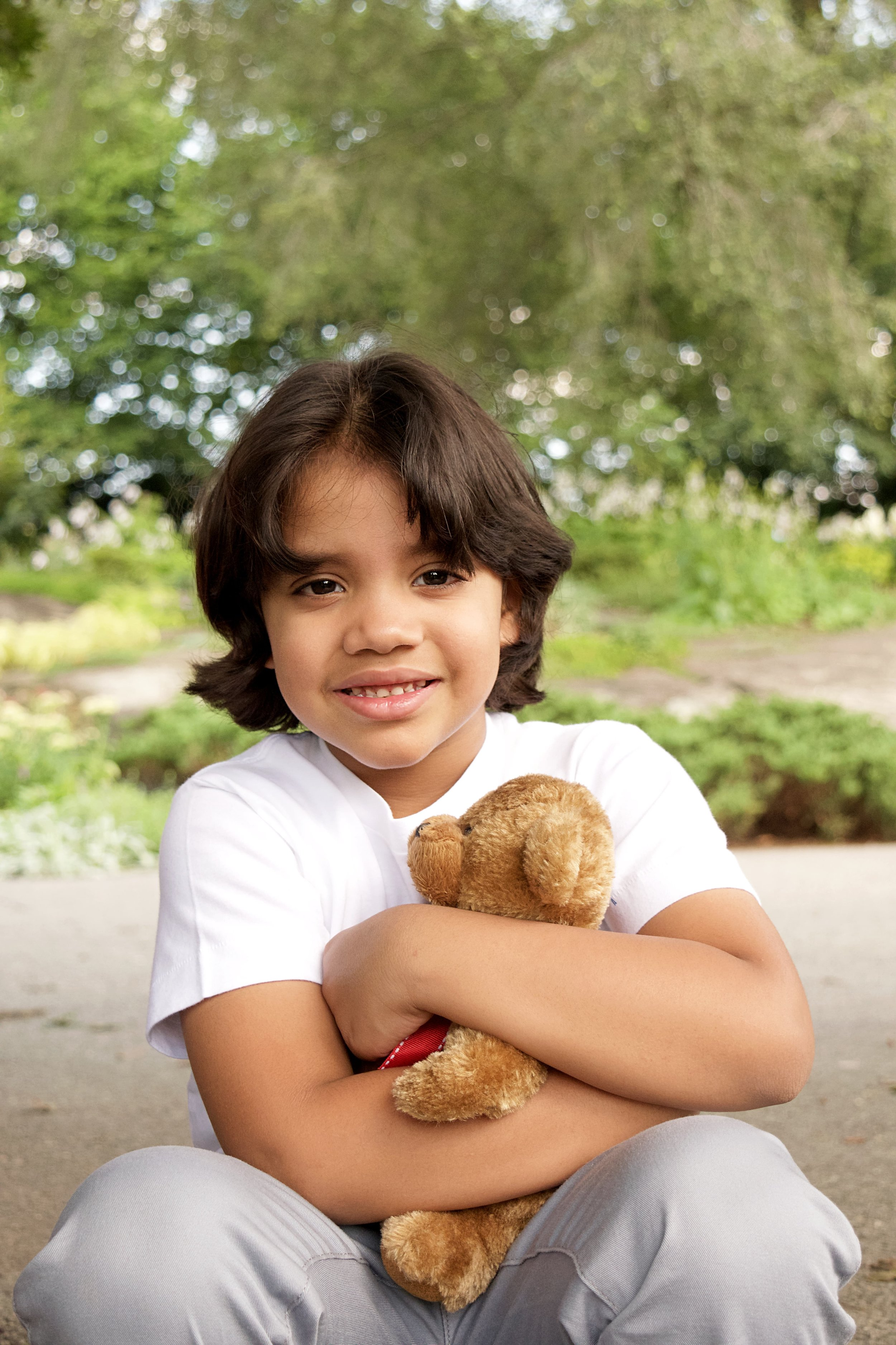 Child Portrait with Teddy Bear Family portraits Cloisters NYC CT Photographer