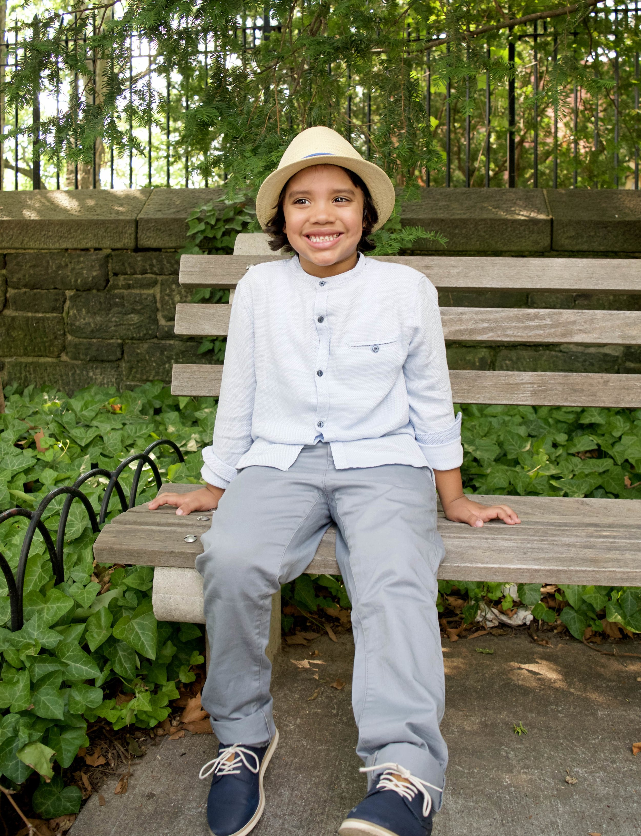 Young Boy in a Fedora Family portraits Cloisters NYC CT Photographer