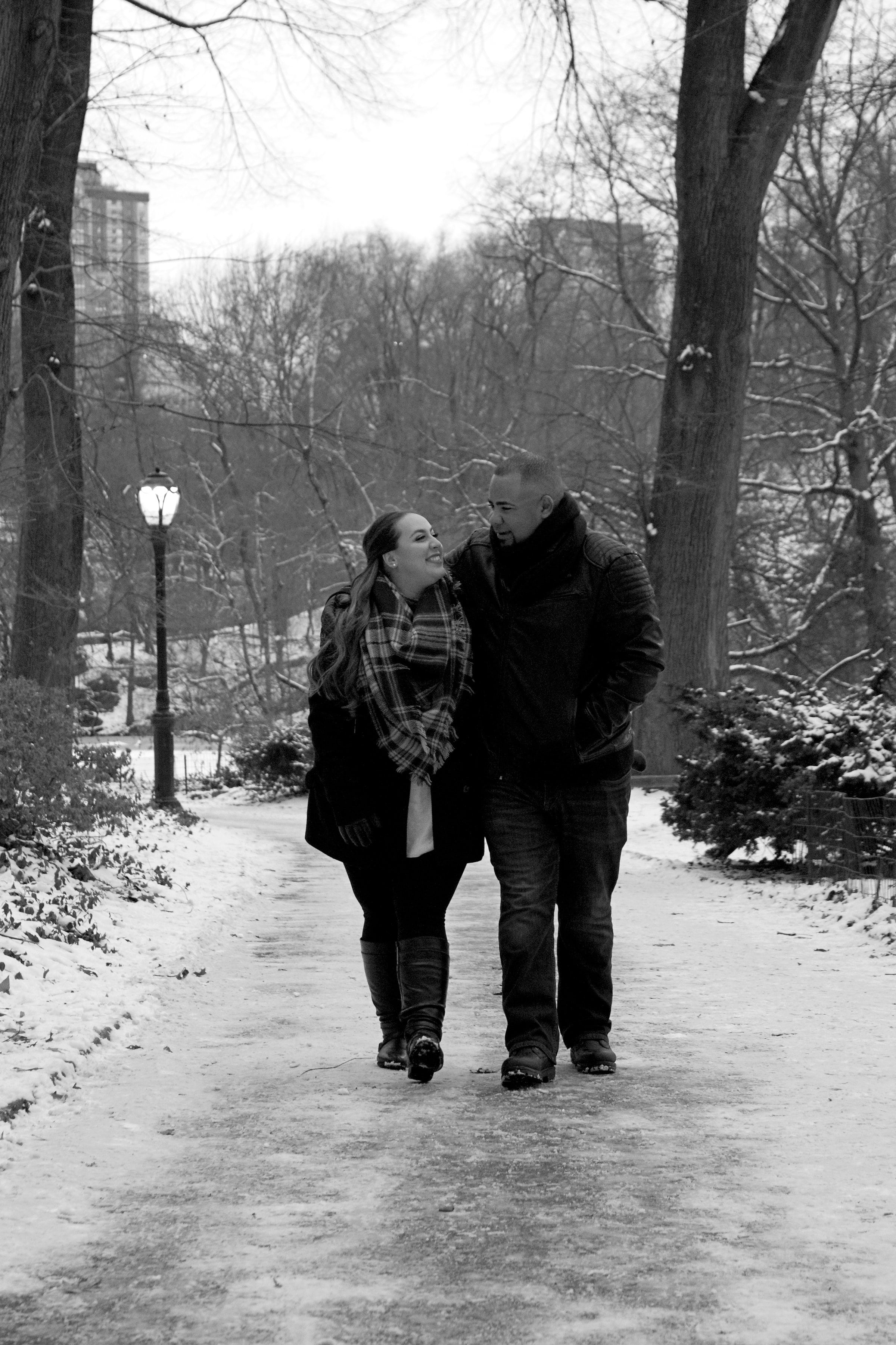 Married Couples Winter Engagement Session Photography Central Park Gapstow Bridge