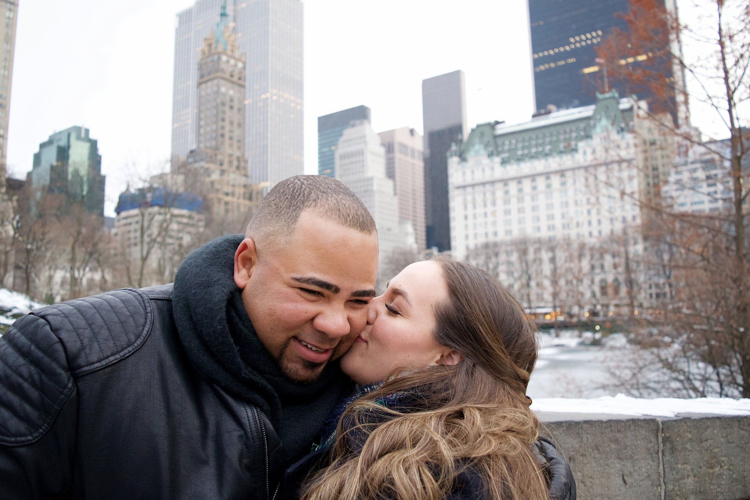 Married Couples Winter Engagement Session Photography Central Park Gapstow Bridge Plaza Hotel