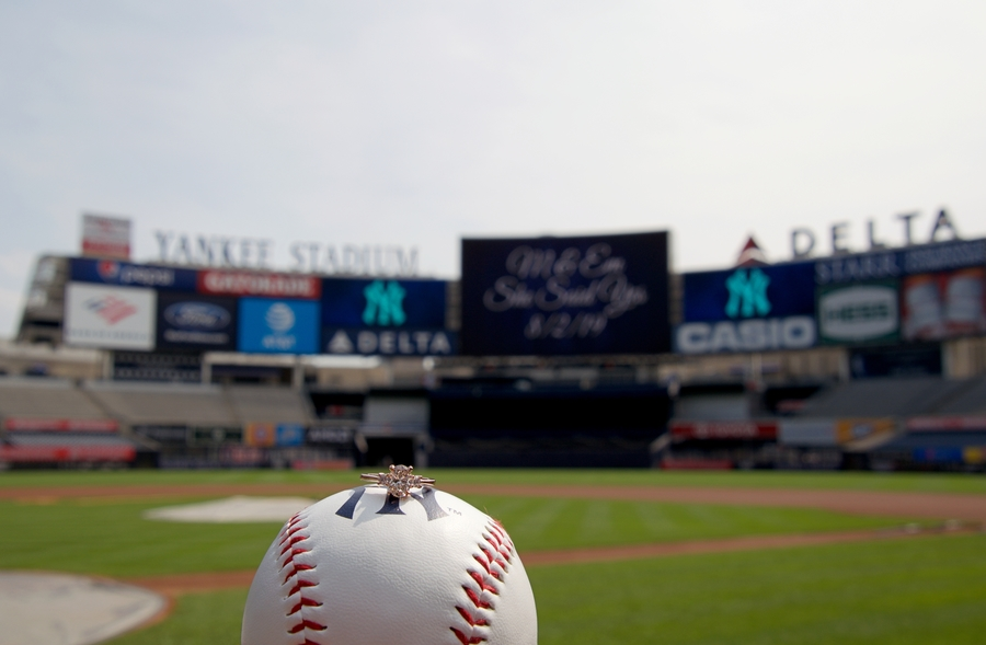 surprise proposal yankee stadium engagement ring