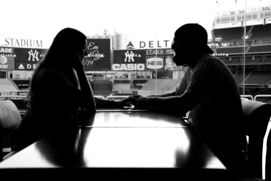surprise proposal yankee stadium engagement delta suite