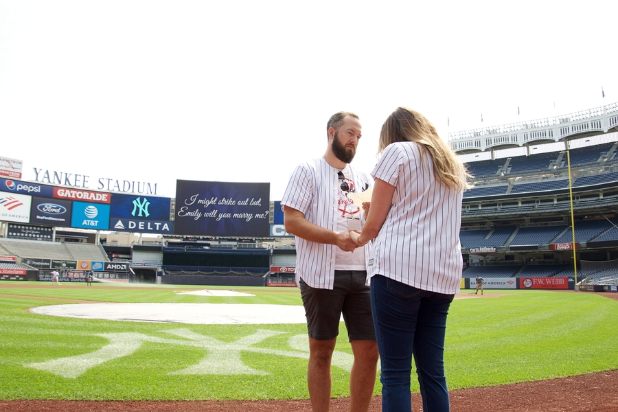 surprise proposal yankee stadium engagement