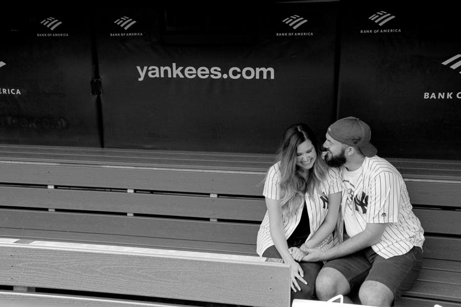 surprise proposal yankee stadium new york engagement photographer