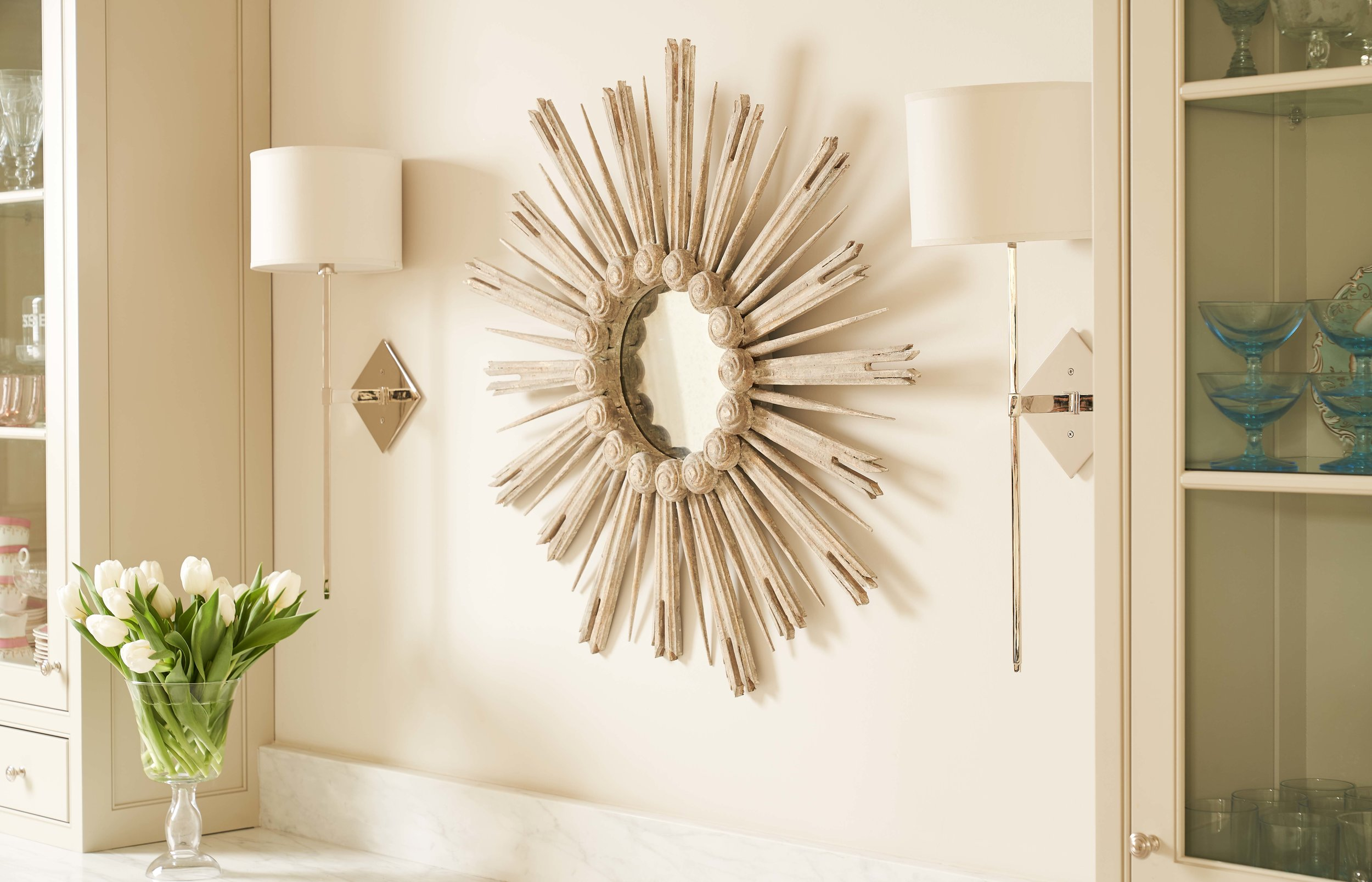 Starburst Mirror  895.00  Diamond Sconce, Available in Polished Nickel and Brass  495.00