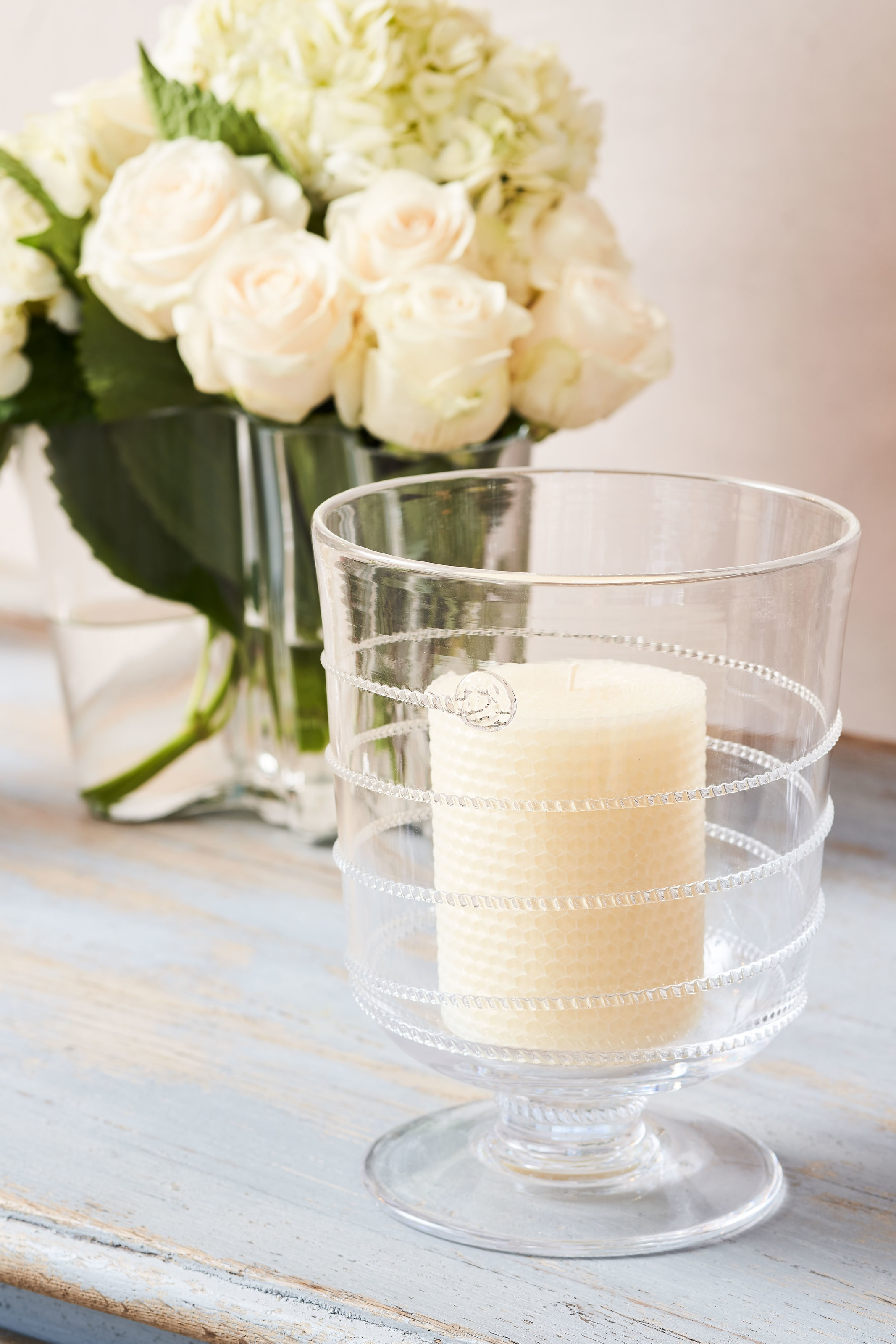 Hurricane with delicate thread motif  150.00  Honeycomb Pillar Candle, additional sizes available  31.00