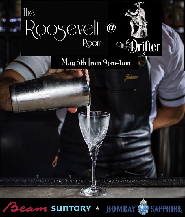 Join us on our next stop of our #TheRooseveltRoomOnTheRoad tour when we take over The Drifter for one night only this Sunday May 5th from 9pm-1am! The best part, drinks are on the house, courtesy of our friends at Beam Suntory and Bombay Sapphire. We hope to see you there. Cheers to you! . . #cheerstoyou #RoRoOnTheRoad #TheRooseveltRoomATX  #TheRooseveltRoom  #RooseveltRoomATX #BlossomBar #BlossomBarBoston #Boston #popup #cocktailpopup #bartakeover #guestbarshift #guestbartending  @bombaysapphire @bacardi @spav_ @vision_in_motion @cheerstoyou2016 #BombaySapphire #bombaysapphiregin #beamsuntory