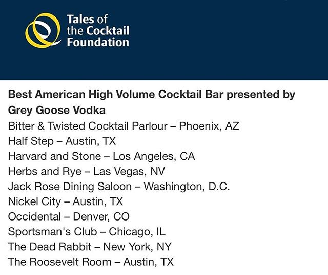 We are honored to be a @tales_of_the_cocktail SPIRITED AWARDS® TOP 10 NOMINEE for the second year in a row in the Best American High Volume Cocktail Bar category. It's an incredible feeling when all of the hard work that our team puts in gets recognized by our peers, and we could not be more honored by the nomination. The best part is that we're listed alongside many bars that we take inspiration from, two of which are our friends at @halfstepbar and @nickelcityatx ! Cheers to all of the nominees for this year's awards. Cheers to you!