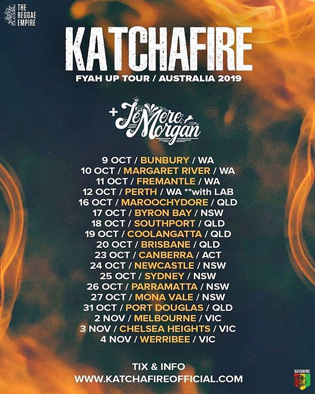 Proud to announce that I will be touring with @katchafireofficial in Australia from Oct-Nov! My first time coming to Aus 😁...I'm superrr excited & readyyy and I can't wait to trod the streets with my braddas #katchafire ! See you all soon 🤙🏾 #FyahUpTour #JemereMorgan #SelfConfidence @dadasonentertainment @wendym816 @grampsmorgan @mpr.consulting  Fiyah Up Australia Tour  10/9 - Bunbury,WA 10/10 - Margaret River,WA 10/11 - Fremantle,WA 10/12 - Perth,WA 10/16 - Maroochydore,QLD 10/17 - Byron Bay,NSW 10/18 - Southport,QLD 10/19 - Coolangatta,QLD 10/20 - Brisbane,QLD 10/23 - Canberra,ACT 10/24 - New Castle,NSW 10/25 - Sydney,NSW 10/26 - Parramatta,NSW 10/27 - Mona Vale,NSW 10/31 - Port Douglas,QLD 11/2 - Melbourne,VIC 11/3 - Chelsea Heights,VIC 11/4 - Werribee,VIC  Tickets & Info  www.jemeremorgan.com www.katchafireofficial.com