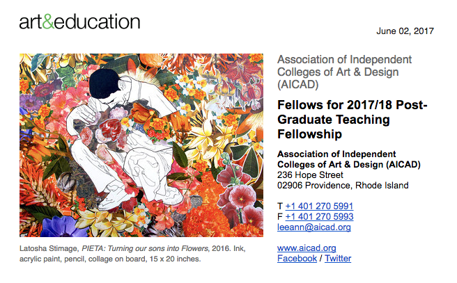 The  Association of Independent Colleges of Art & Design (AICAD) is pleased to announce the 11 fellows who have recently been selected to participate in a year-long, Post-Graduate Teaching Fellowship at participating AICAD institutions during the 2017/18 academic year. Additionally, two of the 2016/17 fellows will be continuing in their positions for a second year.  The Fellowship program seeks to provide professional practice opportunities to high-achieving alumni who have recently graduated from AICAD  member schools , while also increasing the racial and ethnic diversity of faculty at these institutions. AICAD institutions aspire to create a climate that recognizes and values diversity as central to excellence in art and design education.  AICAD Fellowships include structured and unstructured mentoring and professional development opportunities along with direct teaching experience, health benefits, and other monetary supports.   Julia Celebrado-Royer (MFA in Multidisciplinary Art, 2016, Maryland Institute College of Art) placed at Pratt Institute. Julia Celebrado-Royer (b. 1991, Naga City, Philippines) received her MFA in Multidisciplinary Art at the Maryland Institute College of Art. Celebrado-Royer is an interdisciplinary artist working in sculpture, installation, painting, drawing, digital and performance art. She moved to the United States in 2005 and received her BA in Studio Art at McDaniel College, Westminster, MD, in 2014. Her work has been shown around the Baltimore region at venues such as School 33 Art Center (2017), Peale Museum (2016), Gallery CA (2016), |'sindikit| (2016), SpaceCamp (2016), Riggs Gallery (2016), Decker Gallery (2016), Esther Prangley Rice Gallery (2014), and Carroll County Arts Center (2012). Her work has been featured in  ArtFCity , BmoreArt magazine , MICA Commotion , What Weekly , and  The Hill magazine. Celebrado-Royeris a 2016 Janet & Walter Sondheim semifinalist and a recipient of the Toby Devan Fellowship Award. She is curre