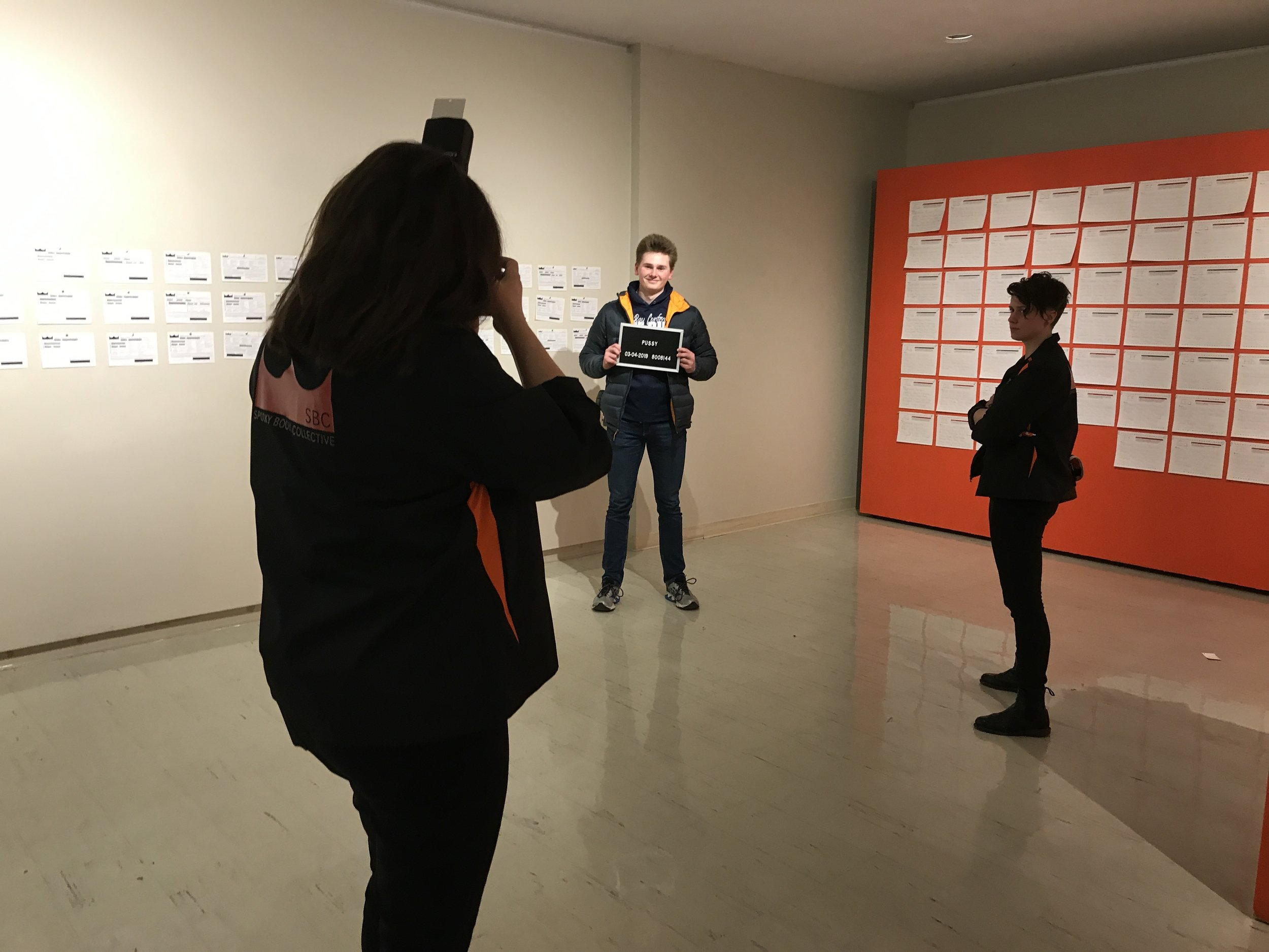 Documentation of performance during our solo exhibition  The Pervasive Curse  at the University of Wisconsin-Whitewater's Crossman Gallery in Spring 2019.