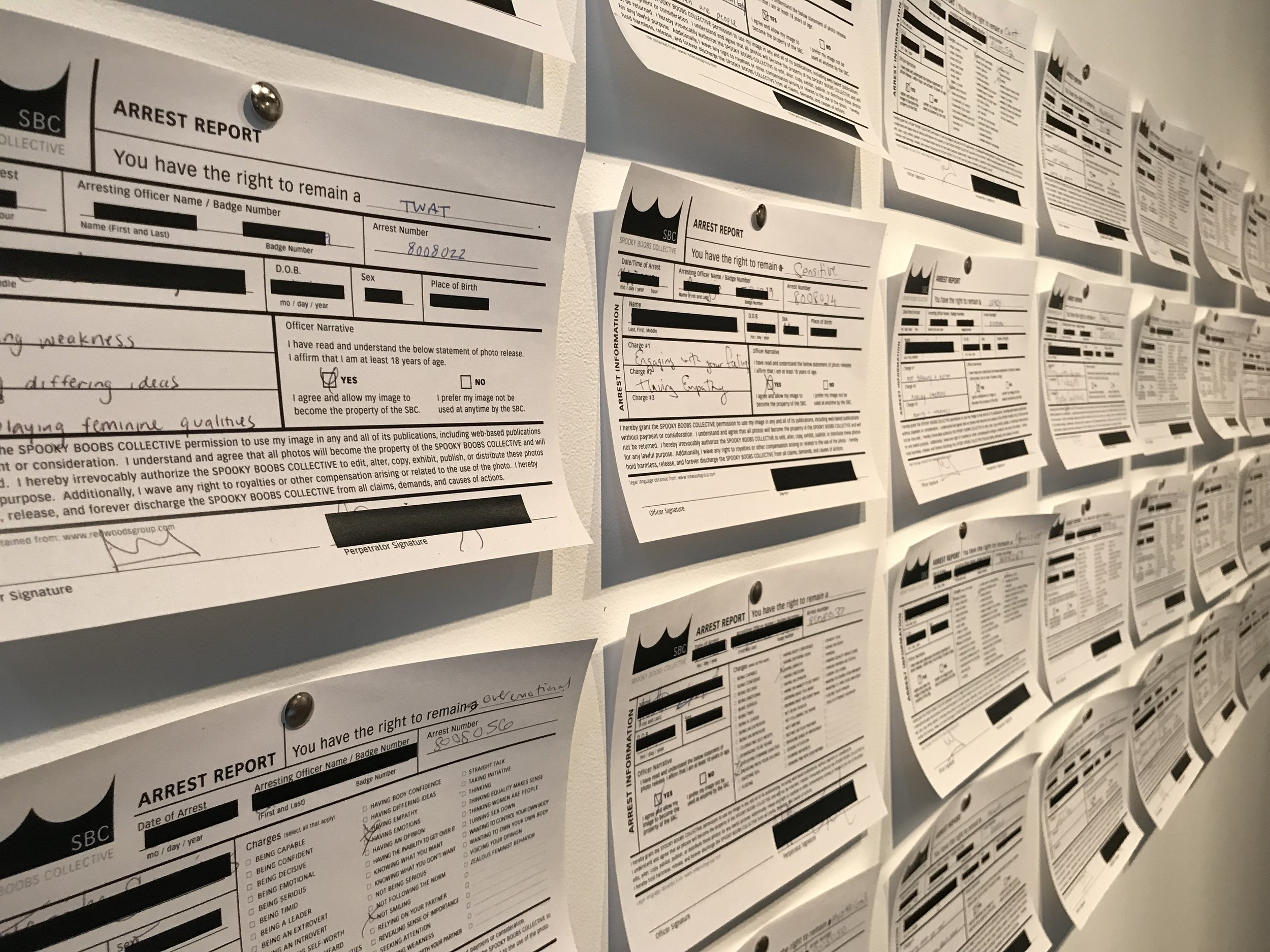 Detail documentation of how redacted arrest reports from previous iterations of this performance were displayed in our solo exhibition  The Pervasive Curse  at the University of Wisconsin-Whitewater's Crossman Gallery in Spring 2019.