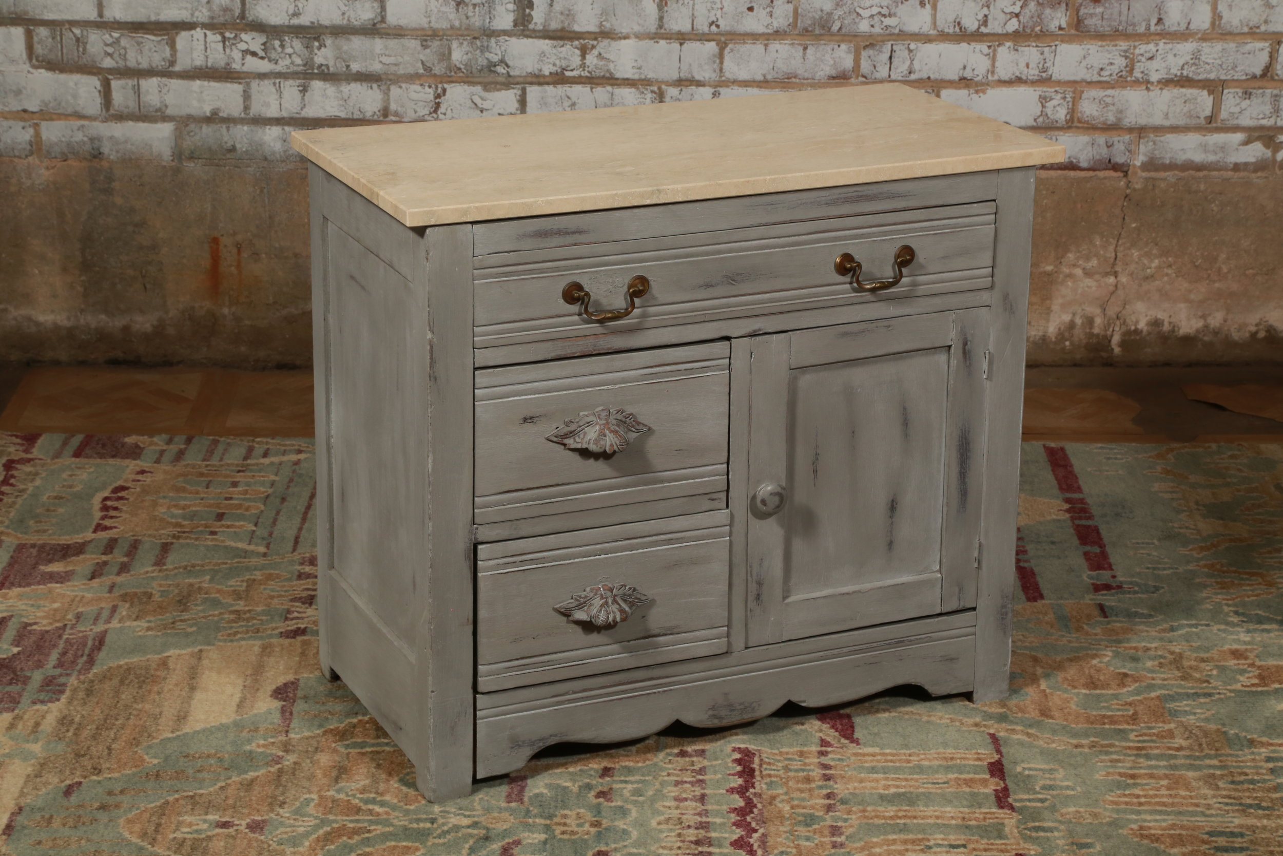 Stone Top Night Stand - Antique Wedgewood - $189