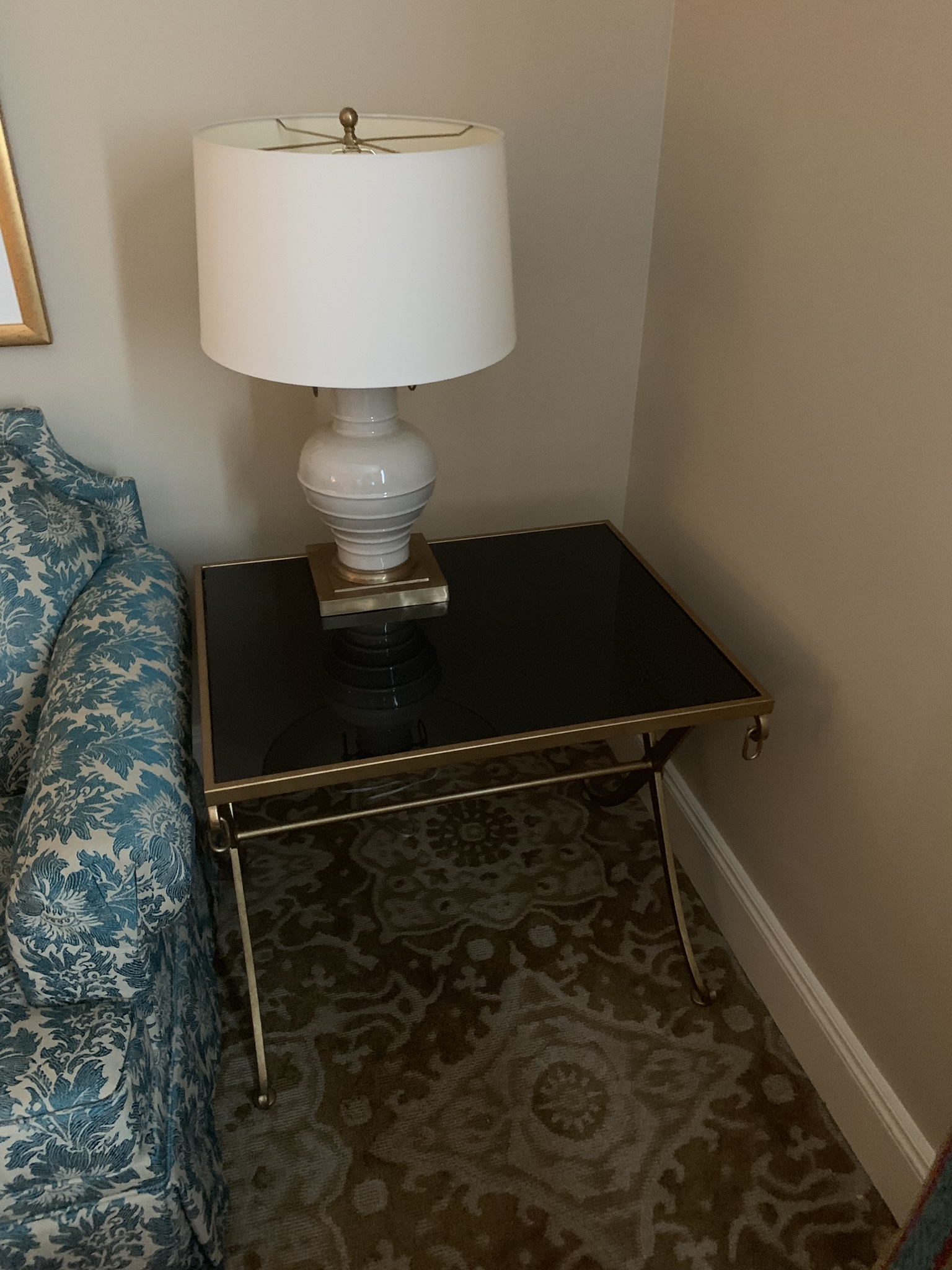 Square Glass & Metal Side Table