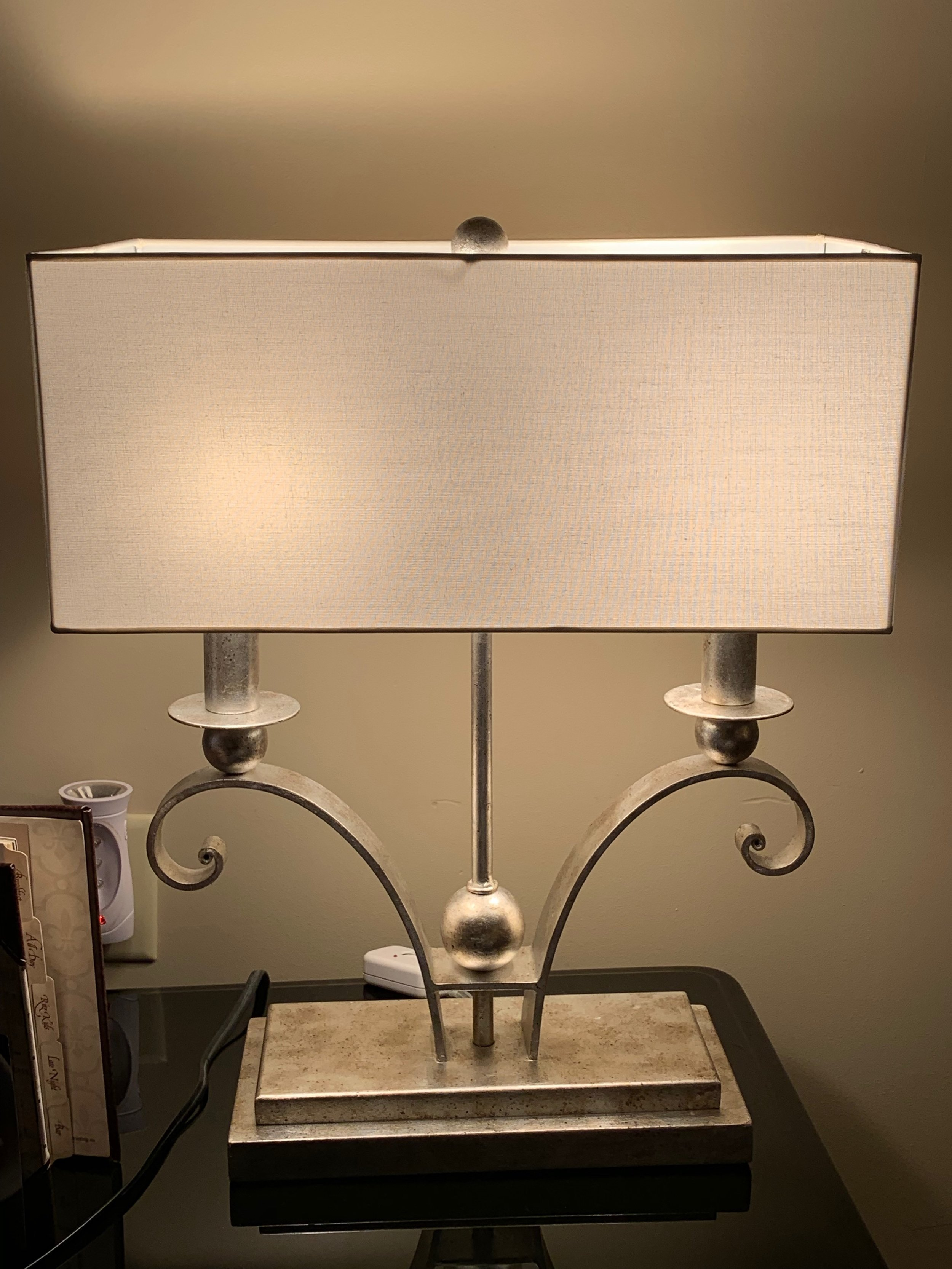 Silver Square Table Lamp