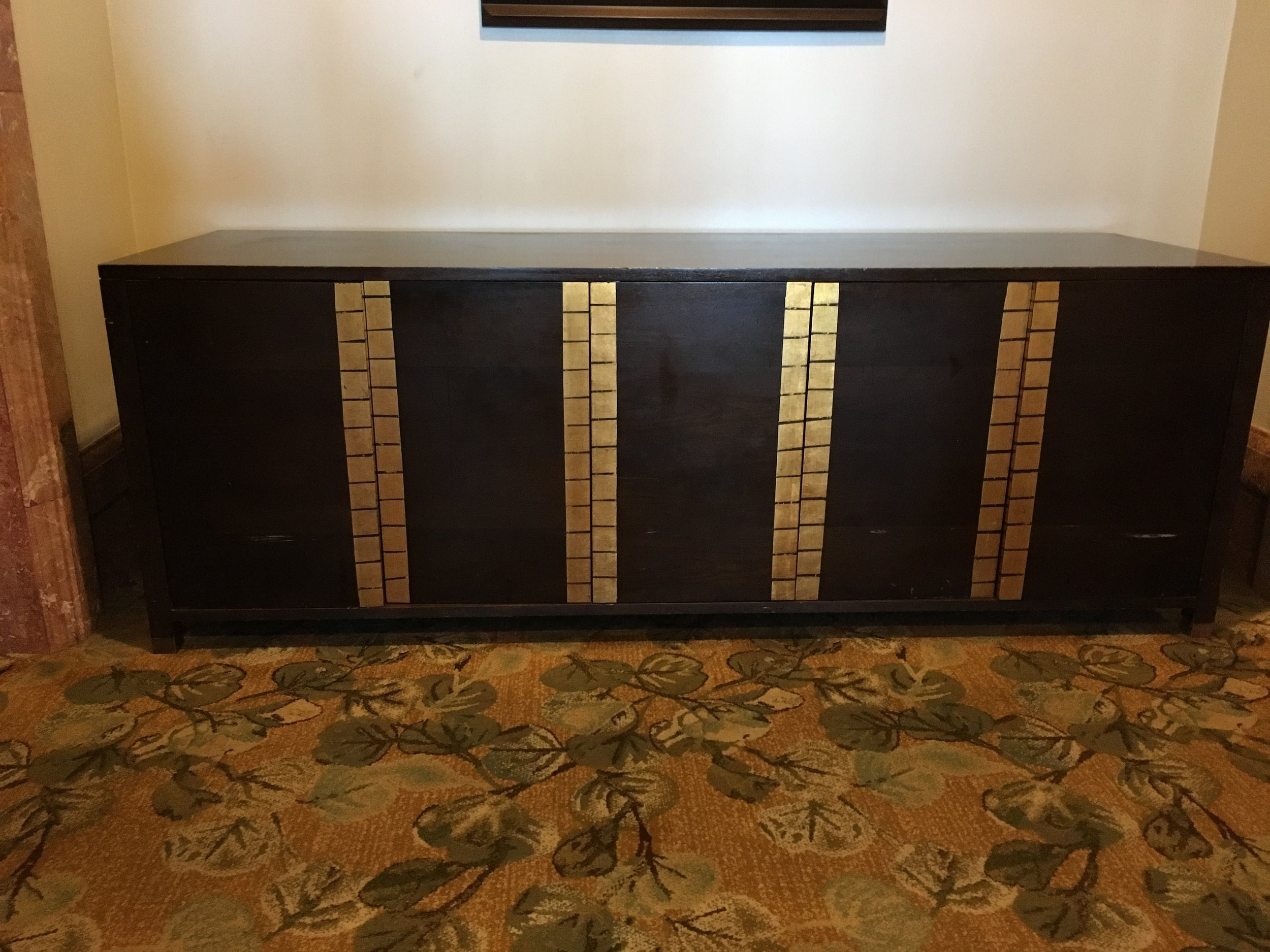 Dark Wood Large 9 ft Gold Buffet